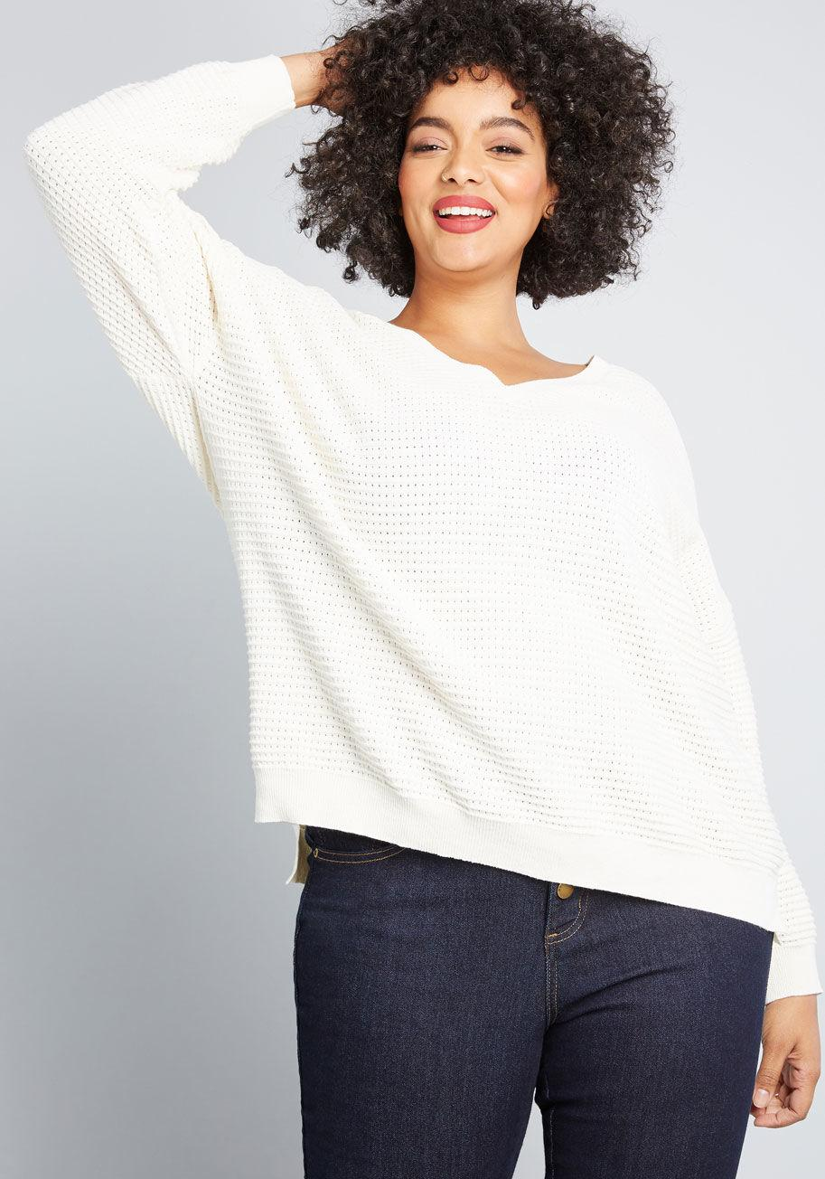 c0fdc94cae1d Lyst - ModCloth Pointelle As Well V-neck Sweater in White