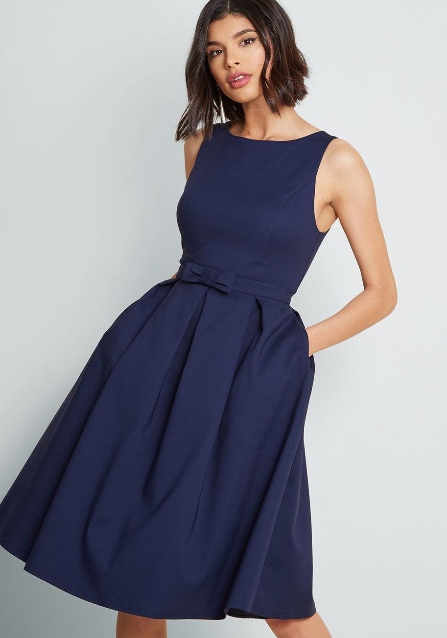 cd507a6972e Lyst - ModCloth Polish Aplenty Fit And Flare Dress in Blue