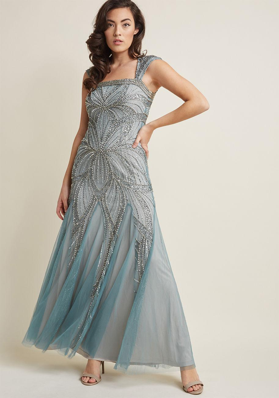 4ce43749af0 Lyst - ModCloth Gracefully Glamorous Beaded Maxi Dress in Blue