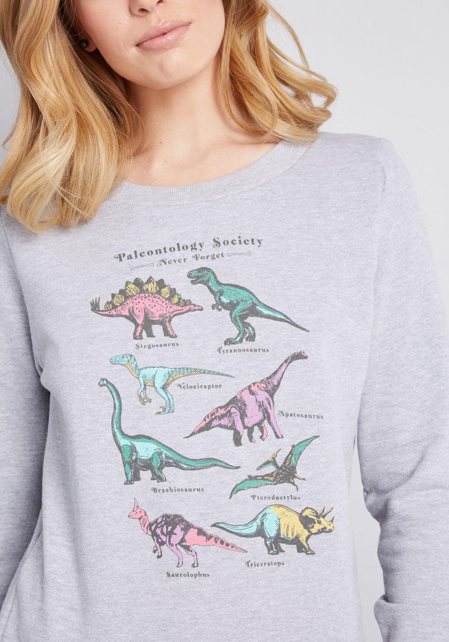 712c7e753 ModCloth Paleontology Society Dinosaur Sweatshirt in Gray - Lyst