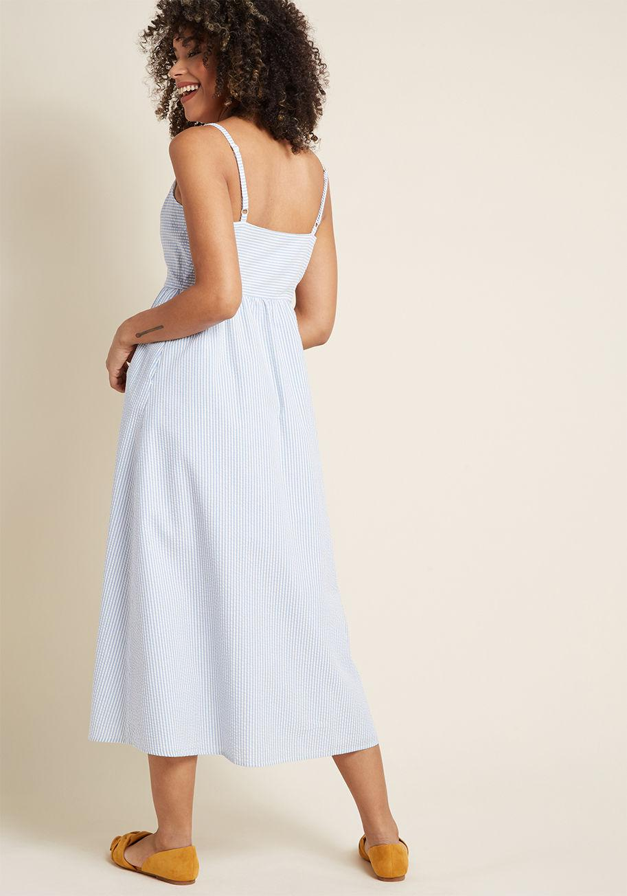 5668175799d Lyst - ModCloth Quite Clearly Charismatic Maxi Dress in Blue
