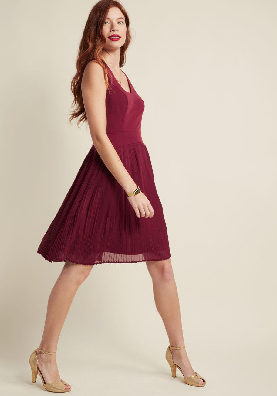 Lyst - Modcloth Drop Waist Pleated A-line Dress In Wine in Red 4e115f7bd