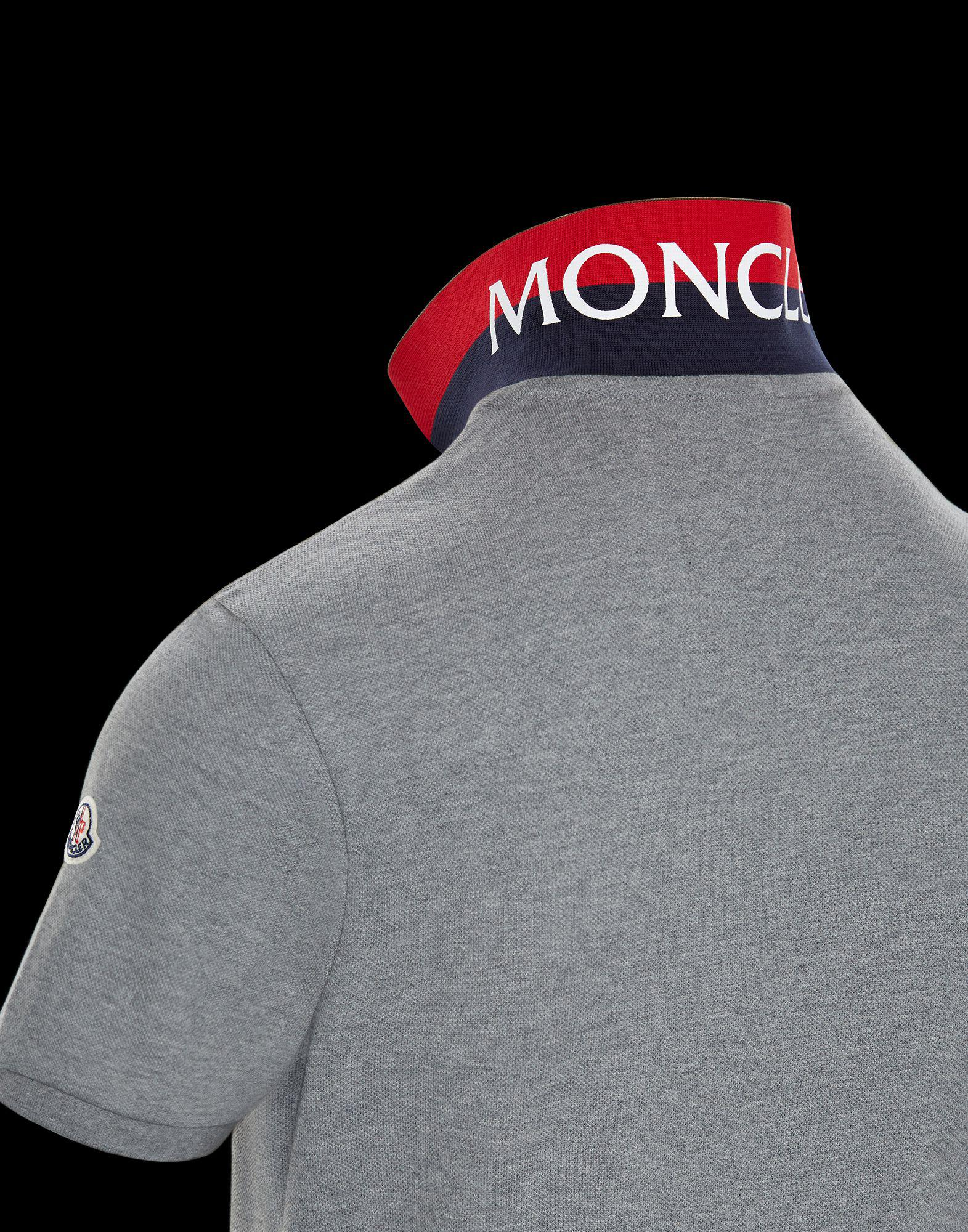 060447d6b464 Moncler Polo Shirt in Gray for Men - Lyst