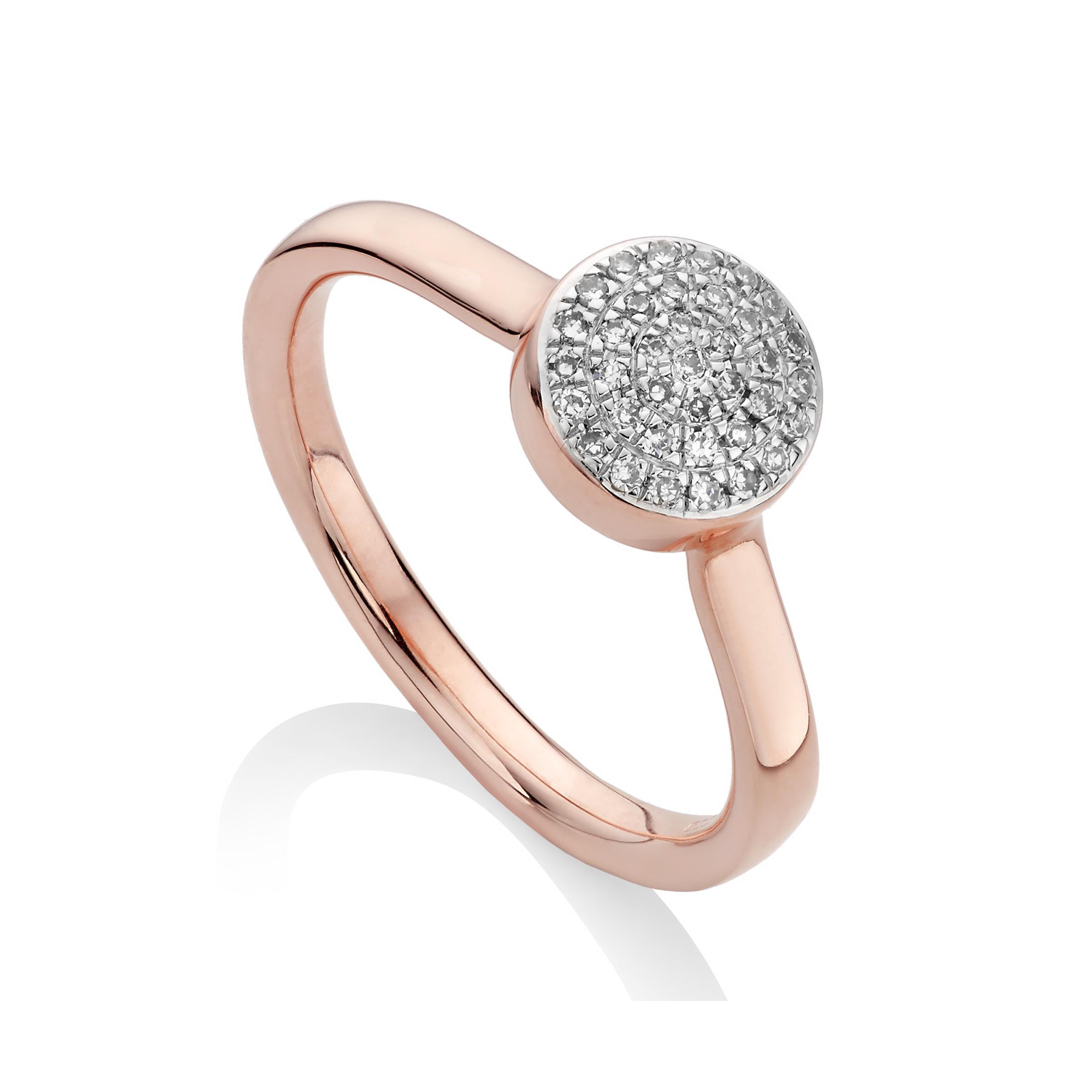 Ava Diamond Disc Ring, Sterling Silver Monica Vinader