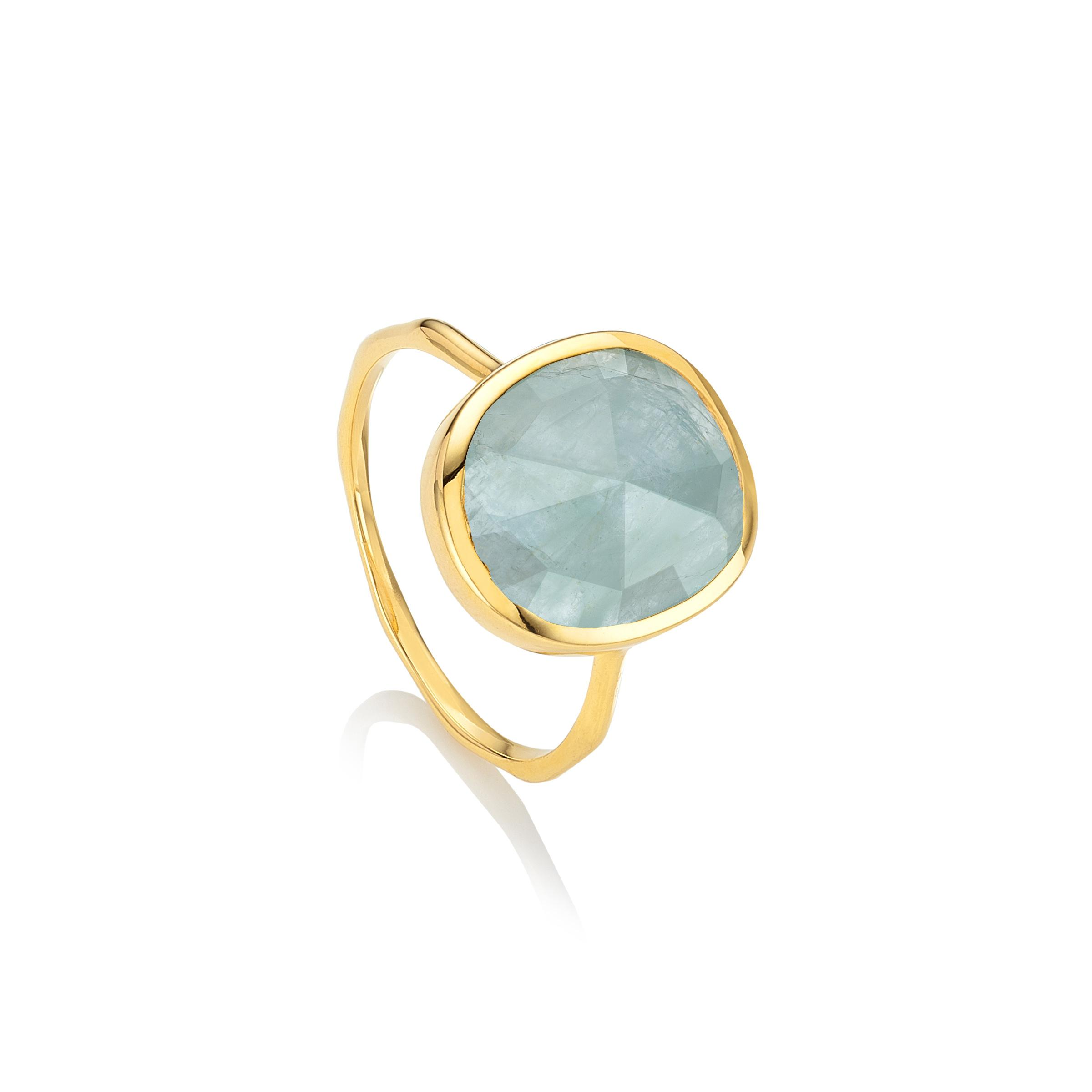 Gold Siren Medium Stacking Ring Blue Lace Agate Monica Vinader 2DTHe6n9p