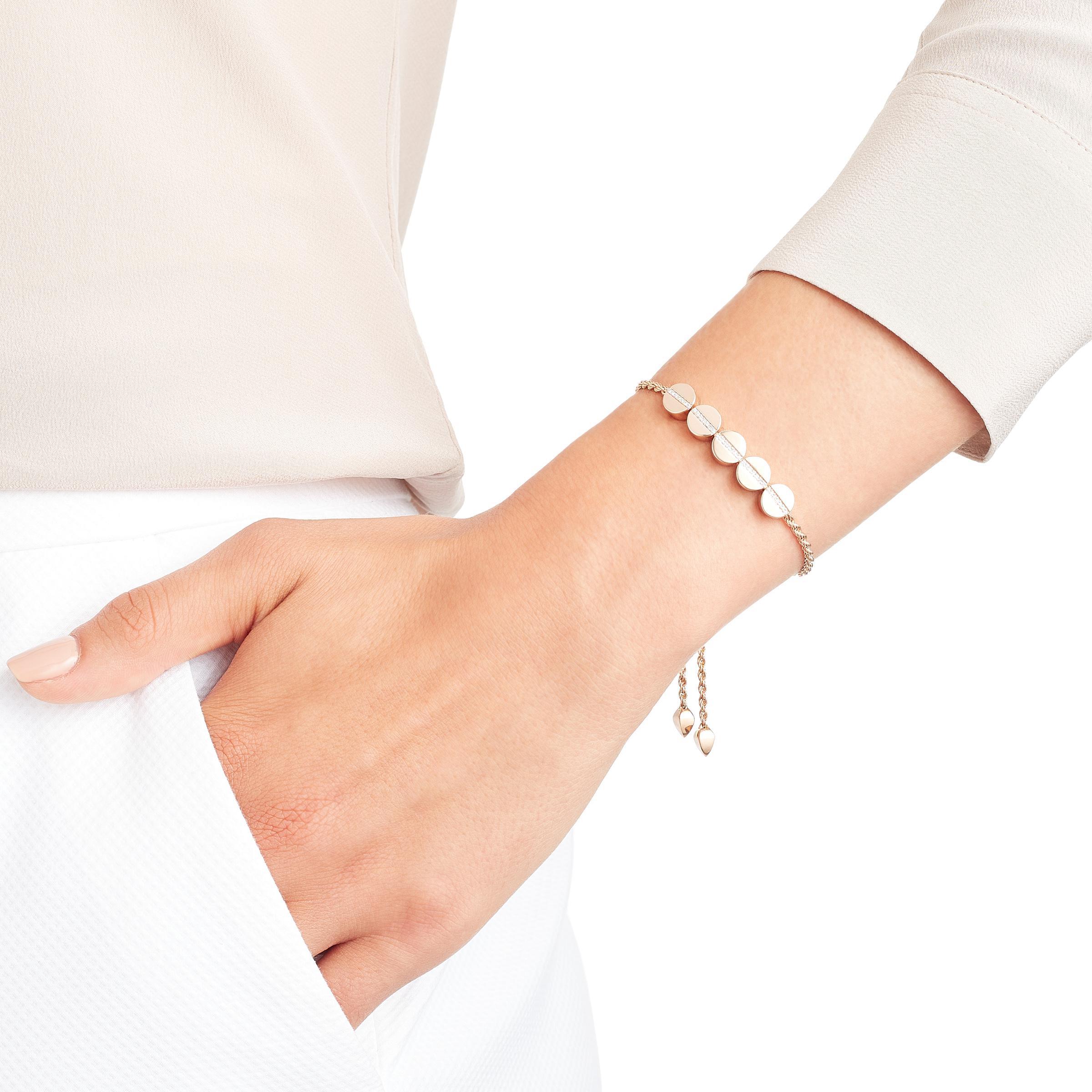 Sterling Silver Linear Bead Diamond Row Friendship Chain Bracelet Diamond Monica Vinader 7fRCK