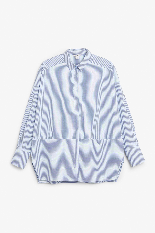 2e2e7a53200 Monki Hidden Button Cotton Blouse in Blue - Lyst