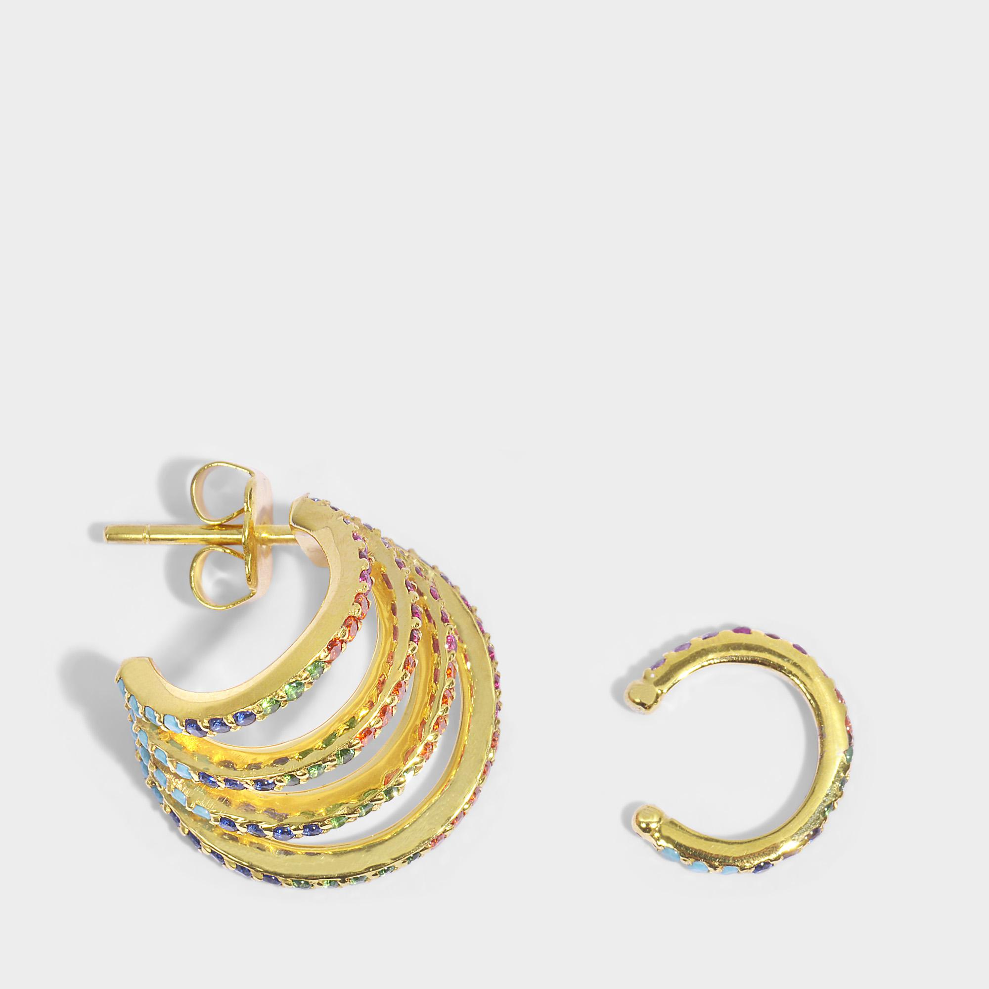 Joanna Laura Constantine Criss Cross Rainbow Earrings in Multi Gold-Plated Brass with Multicolored Stones yK2ceIvtmk