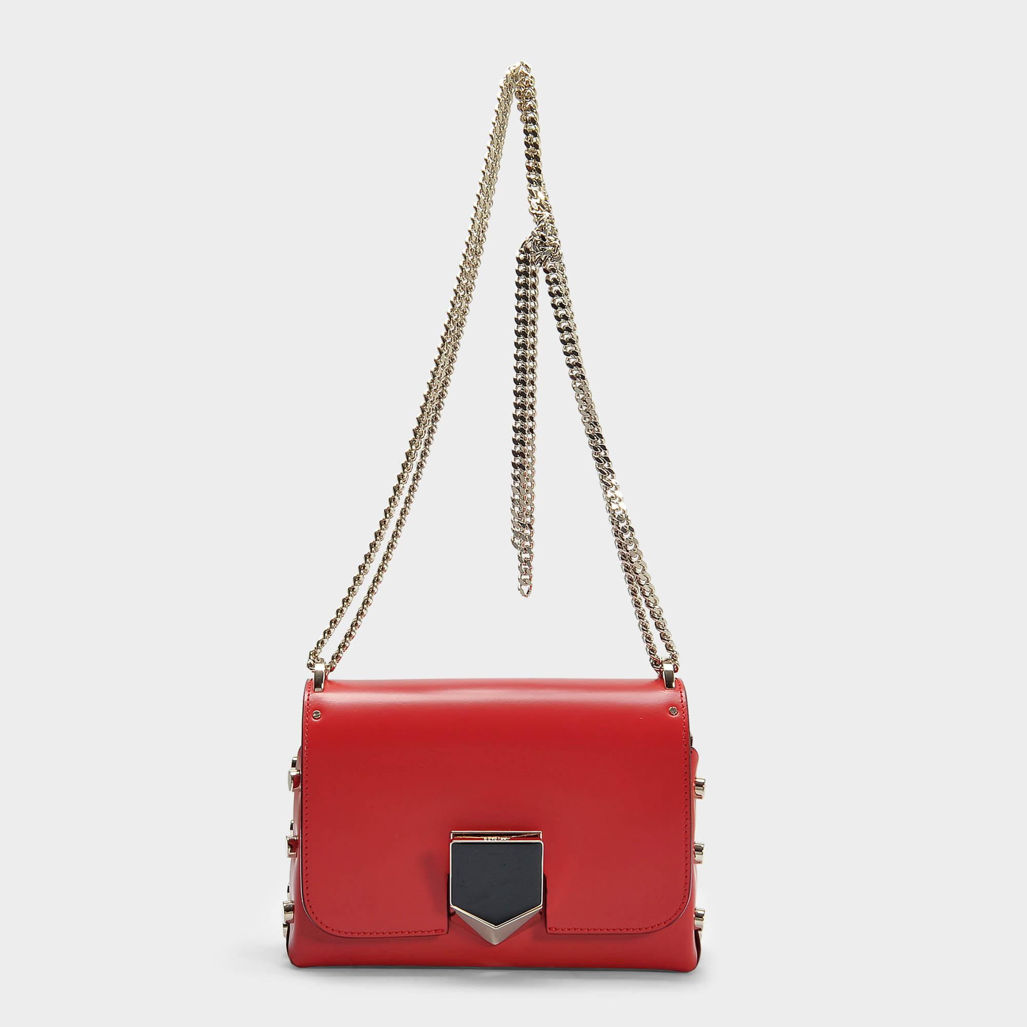 Lockett Petite Bag in Red and Chrome Spazzolato Leather Jimmy Choo London Pp3WS