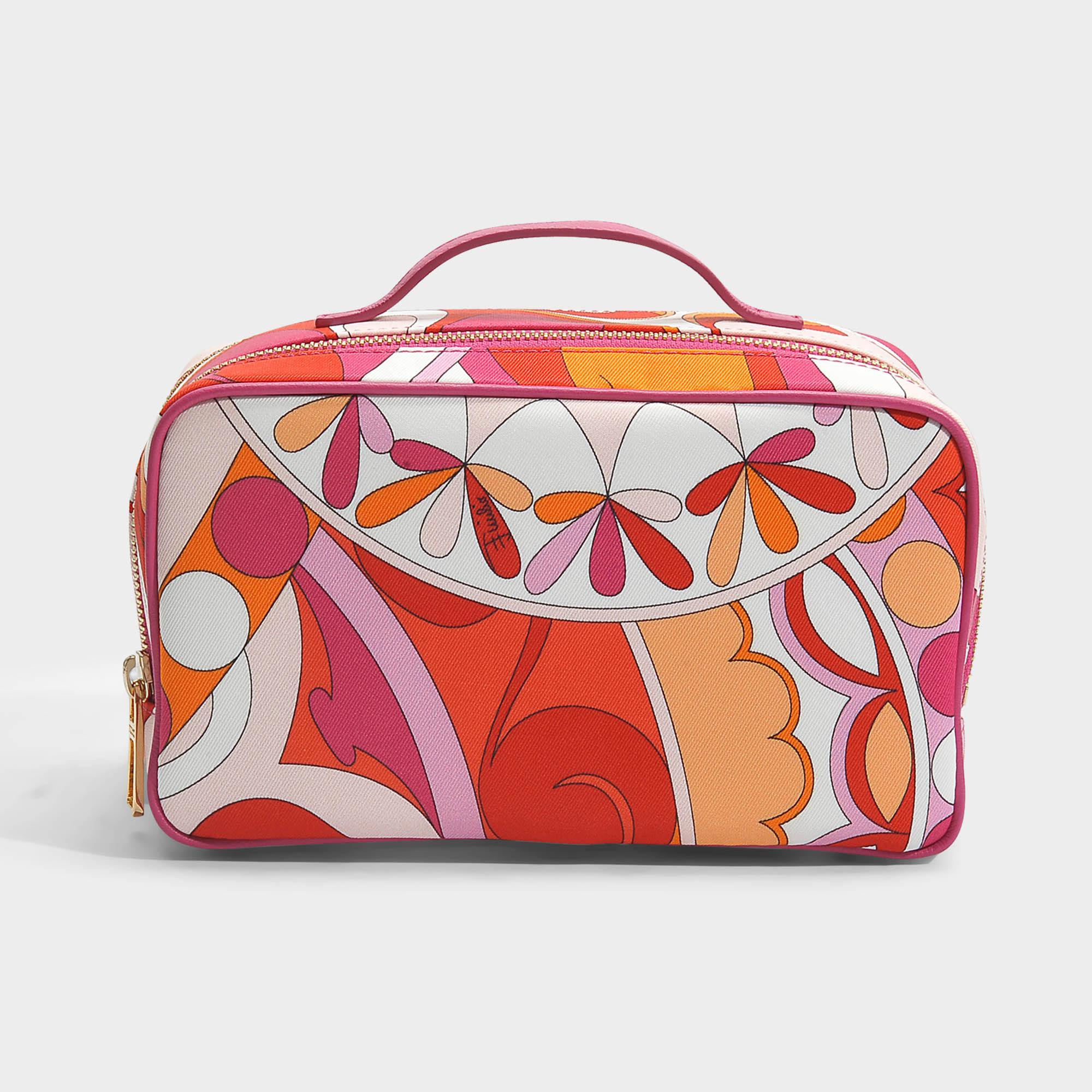Capri Big Case Bag in Orange Printed Nylon Emilio Pucci vExju