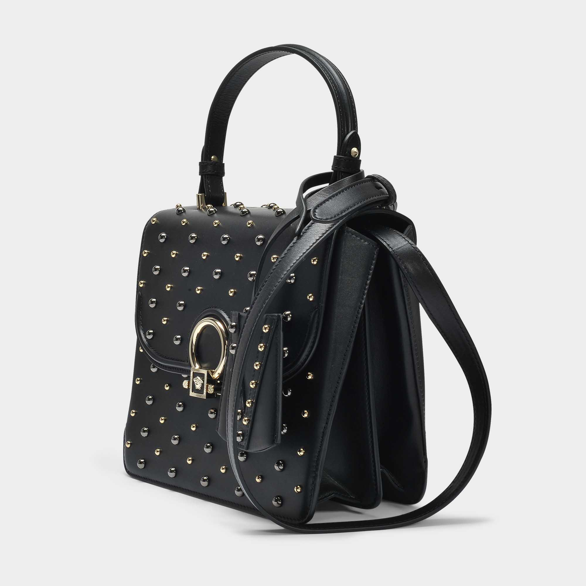 DV One Medium Bag in Black Calf Versace Cheap Sale Clearance Store Huge Surprise Sale Cheap Prices Discount Really 6oW9yQS1
