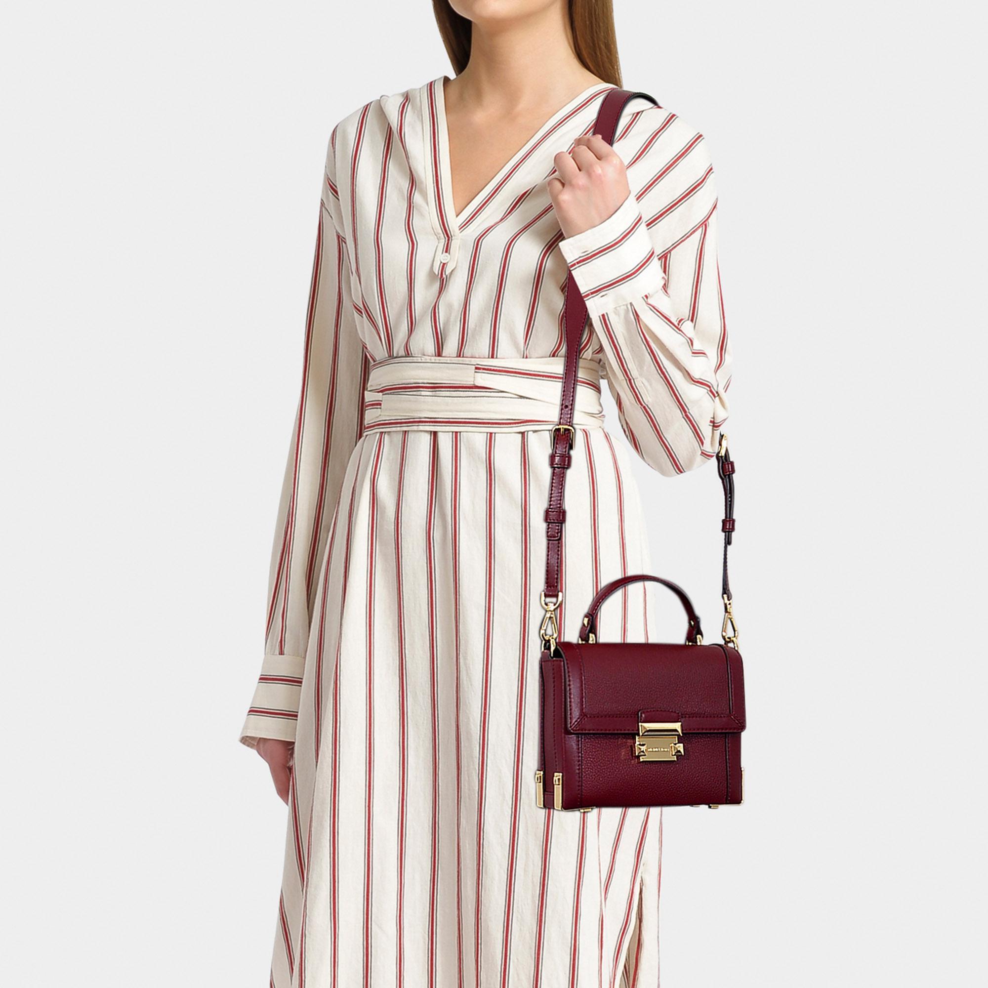 8da58157e65 MICHAEL Michael Kors Jayne Small Trunk Bag In Burgundy Calfskin - Lyst