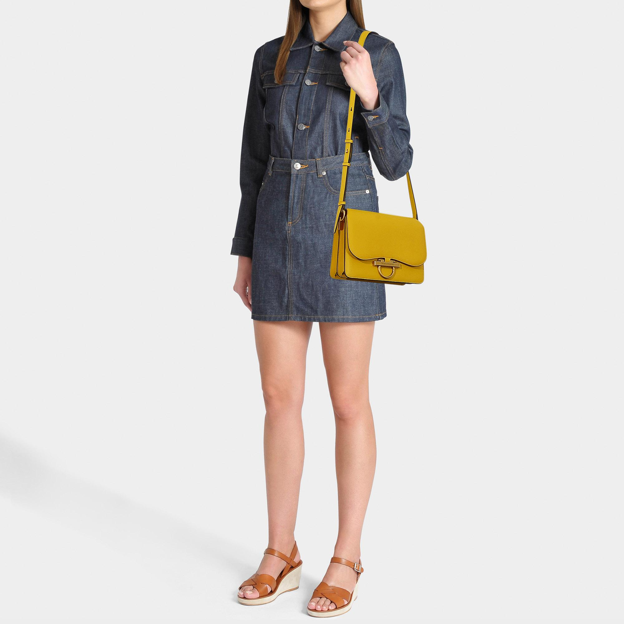 17e6002319 Lyst - Ferragamo Joanne Flap Bag In Yellow Calfskin in Yellow - Save 4%