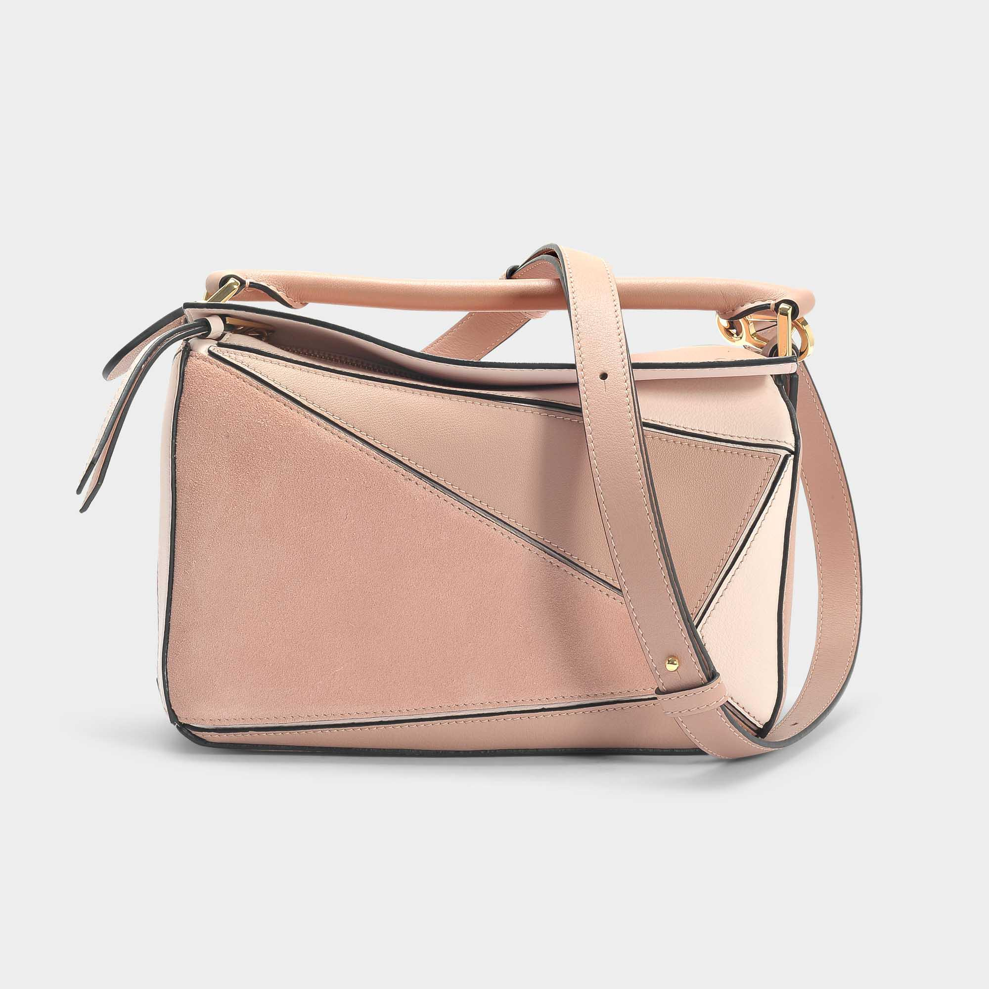 a046a45c33e8 Lyst - Loewe Puzzle Small Bag In Brown Calfskin in Pink