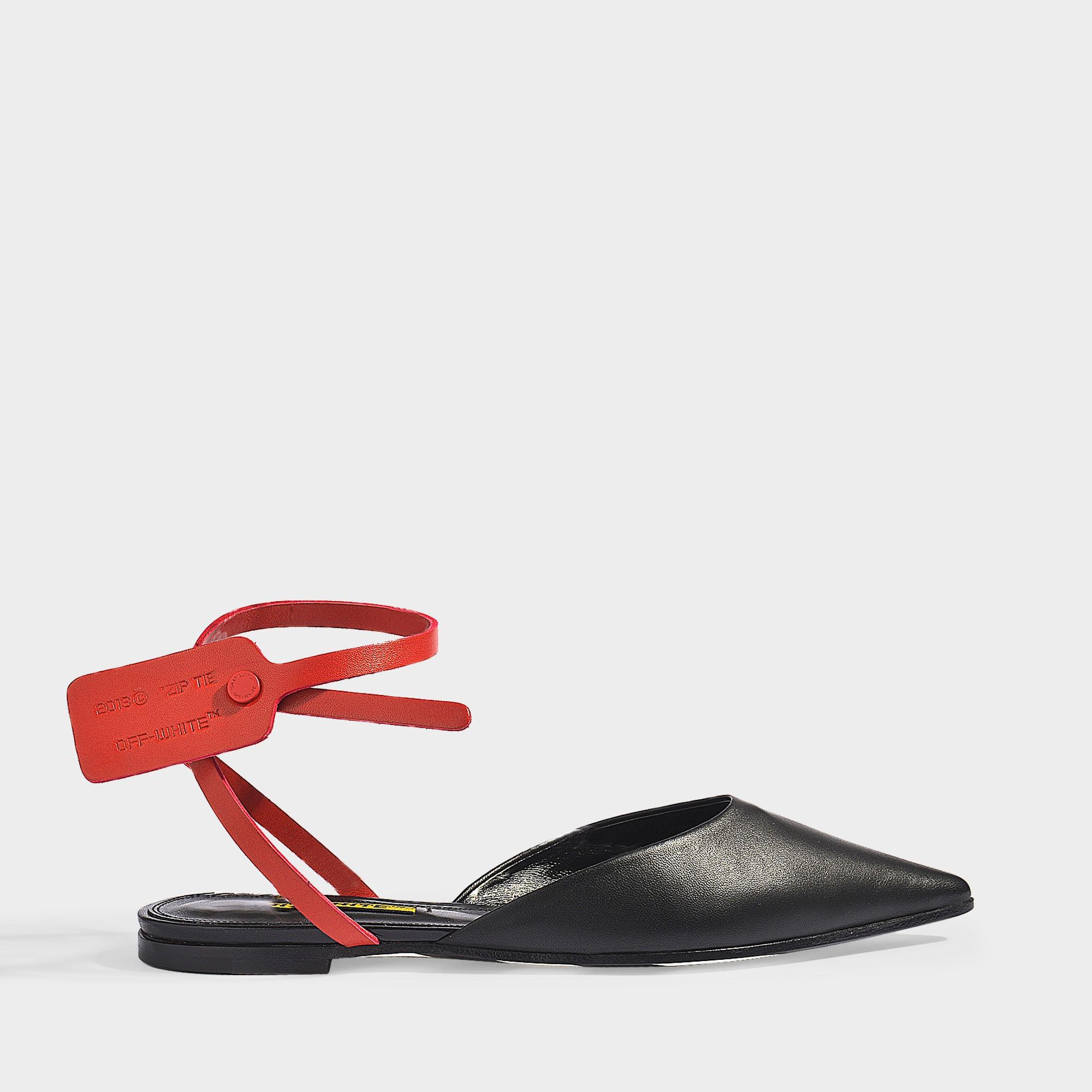 31109fef34a8 Off White C O Virgil Abloh Zip Tie Slippers In Black Leather Red