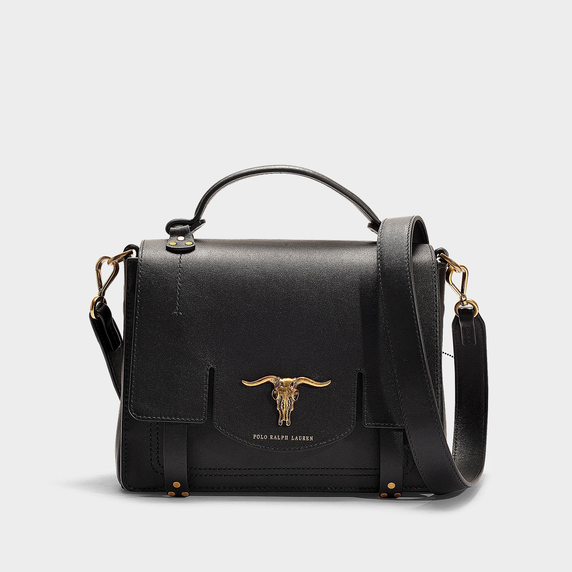 e0b31fab1d Polo Ralph Lauren Schooly Top Handle Small Bag In Black Calfskin in ...