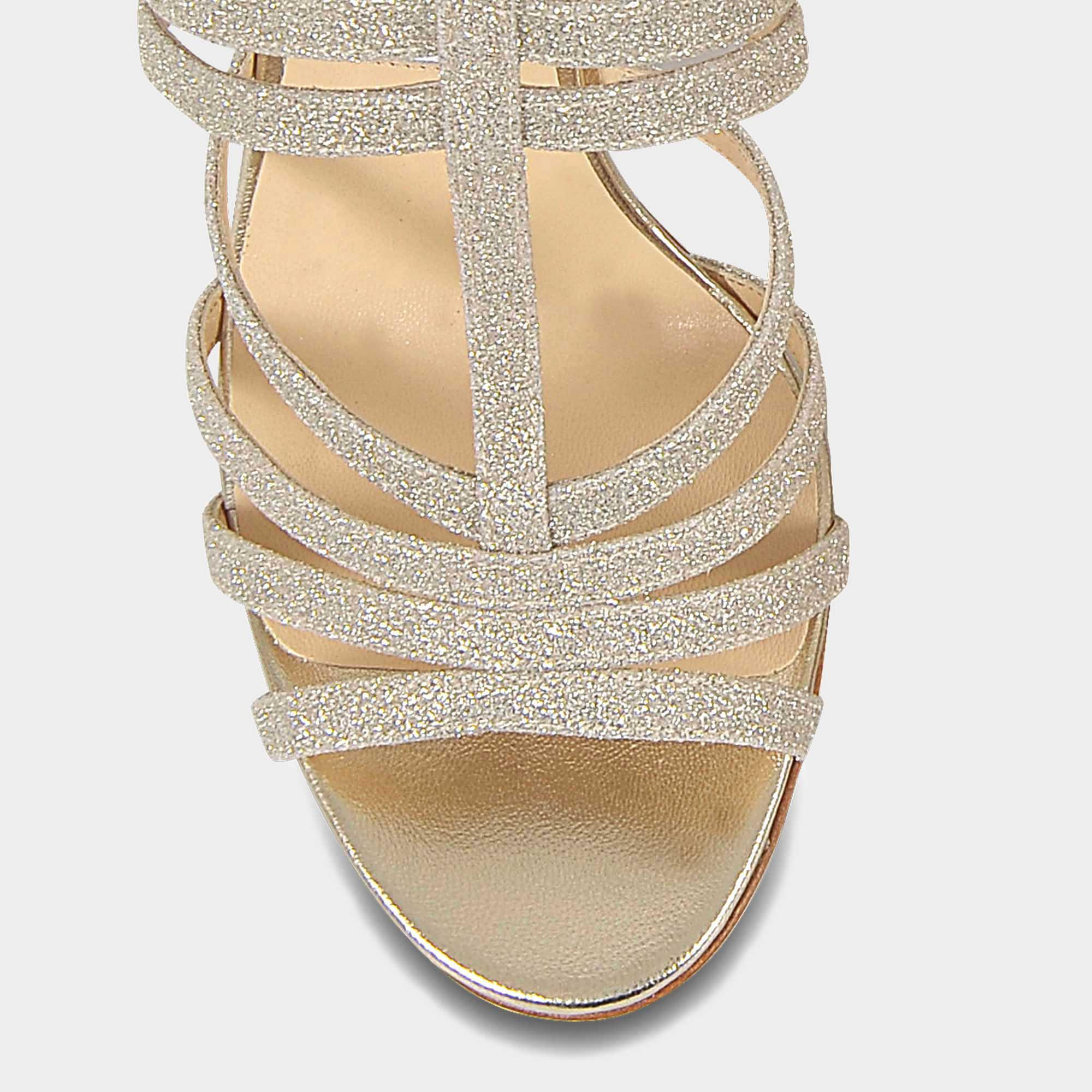 ae4473be52db Lyst - Jimmy Choo Selina 100 Metallic Cage Sandals In Platinum Ice ...