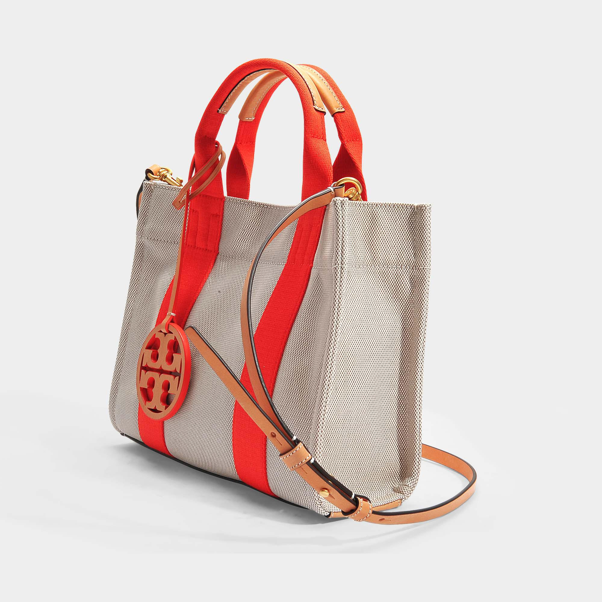8b2abf05534 Lyst - Tory Burch Miller Canvas Mini Tote Bag In Natural And Poppy ...