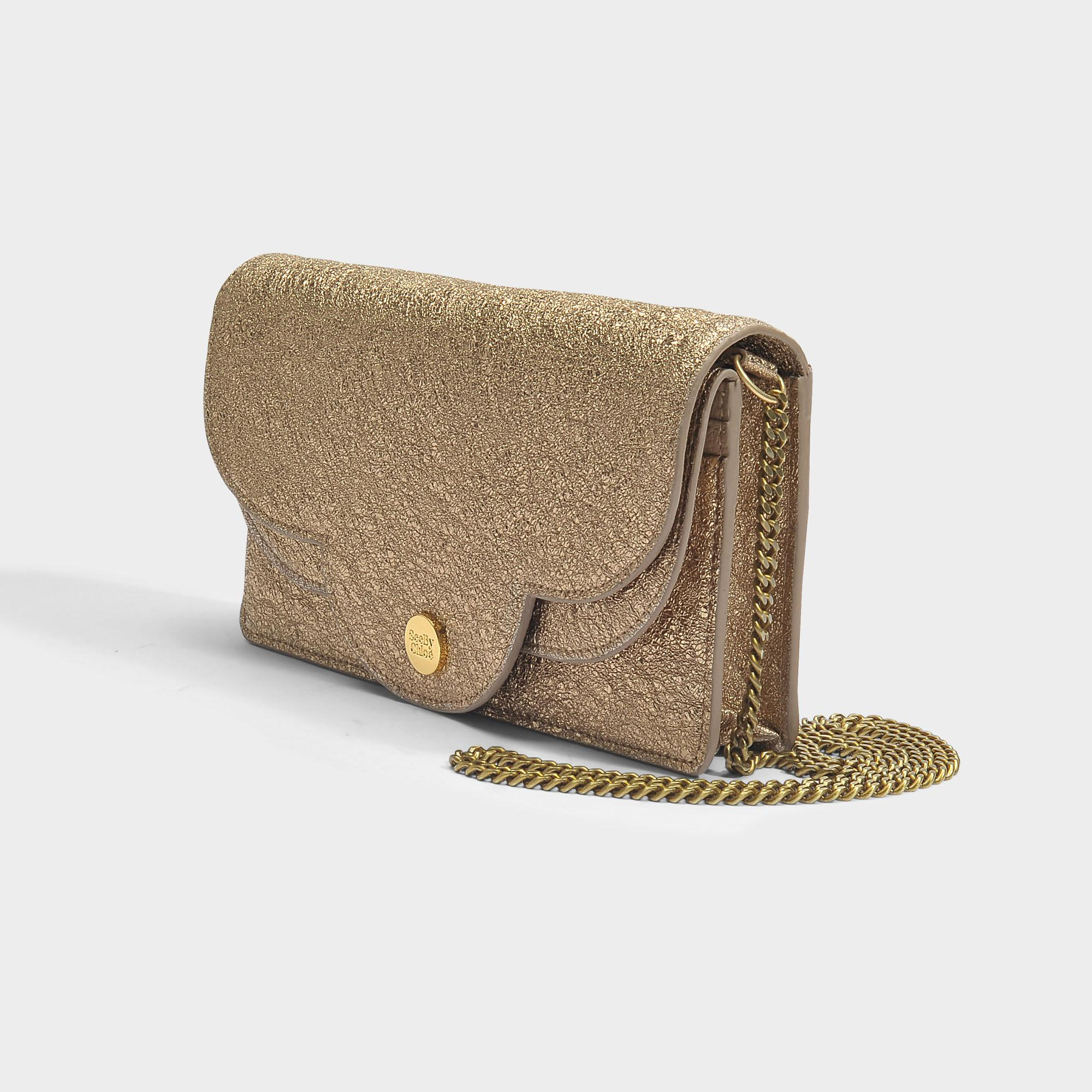 Polina Evening Bag in Sandy Brown Metallic Cowhide Leather See By Chloé ocJcYs75y