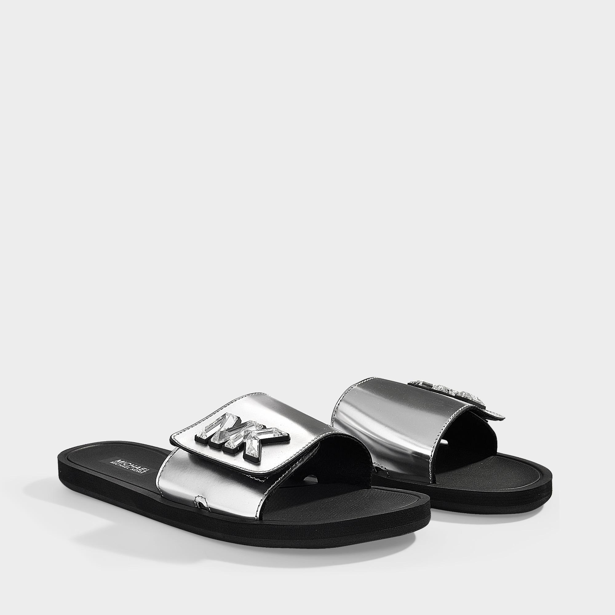 482bcf047e0f MICHAEL Michael Kors - Gray Mk Slides In Silver Mirror Metallic Material  And Crystals - Lyst. View fullscreen