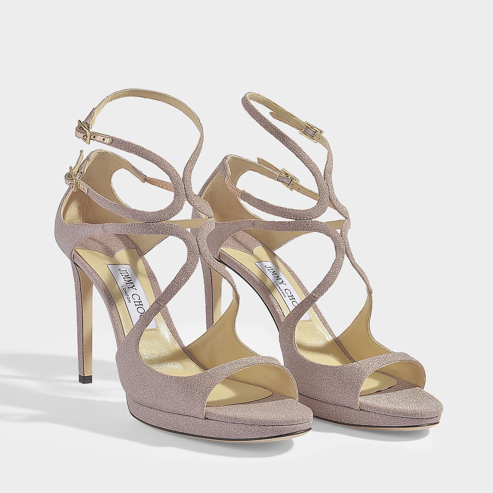 871aeb43516 Lyst - Jimmy Choo Lance 100 Cross Front Sandals In Ballet Pink Fine ...