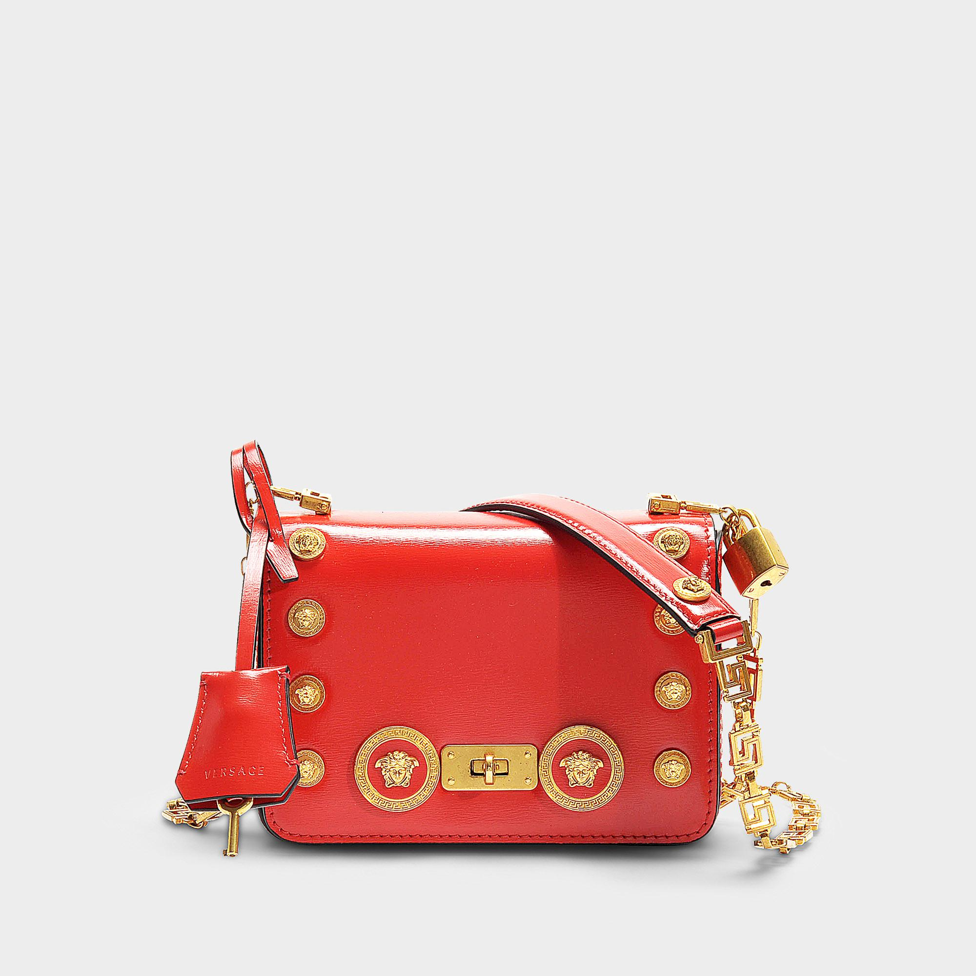 85eb1af818 Lyst - Versace Icon Shoulder Bag With Medusa Studs In Red Calfskin ...