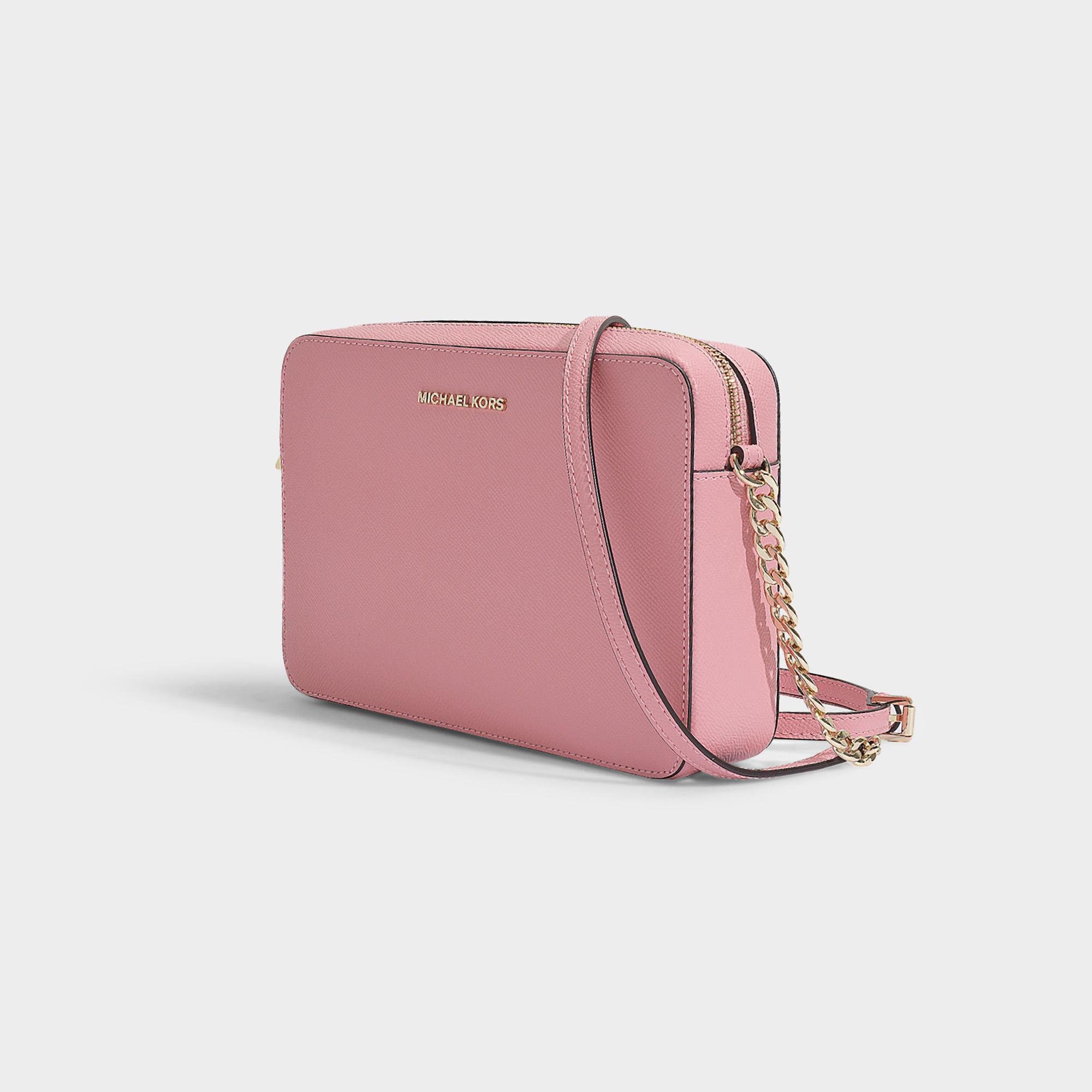 43f7d4a2c395dd MICHAEL Michael Kors - Pink Large East West Crossbody Bag In Carnation  Crossgrain Leather - Lyst. View fullscreen