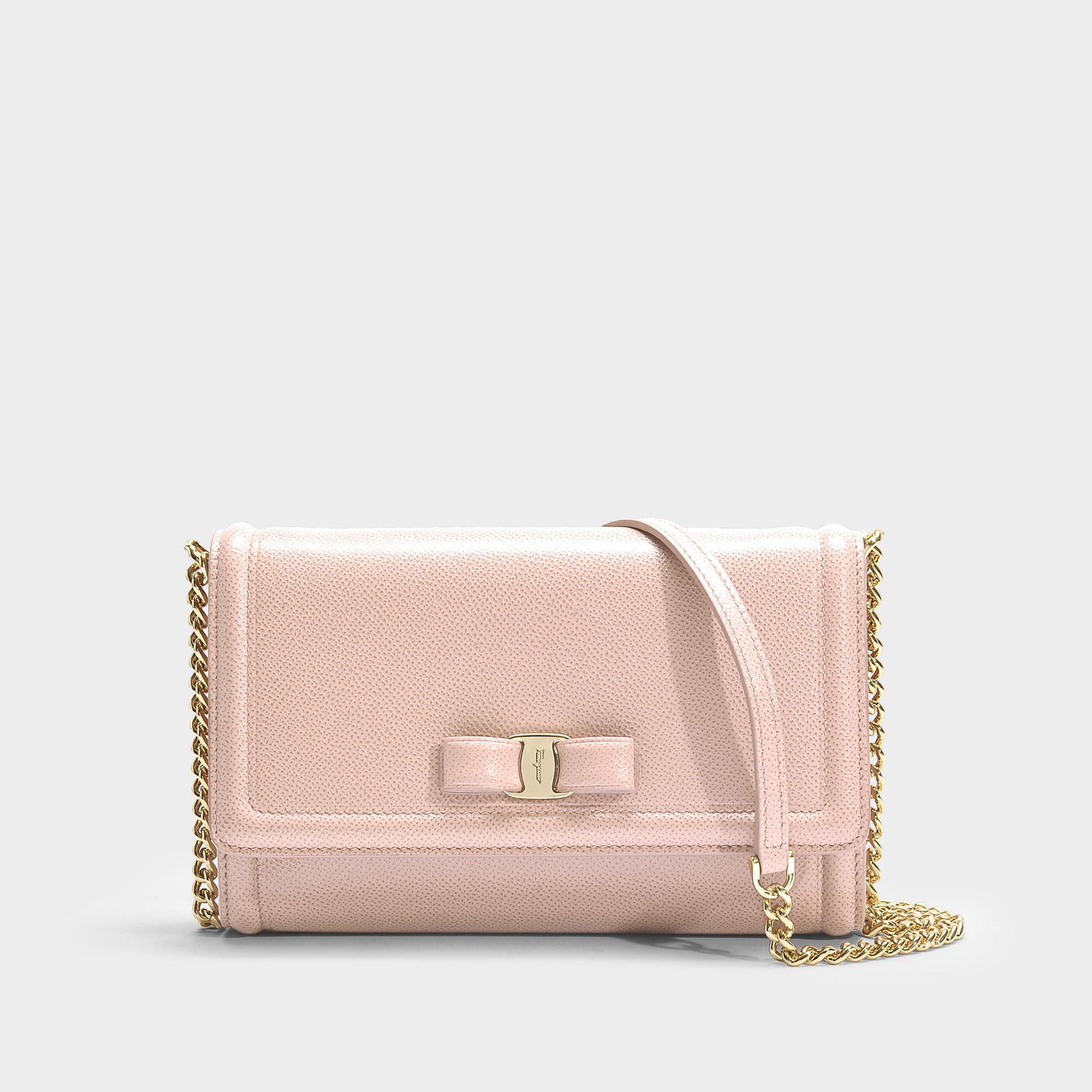 5d7e24d5880a Ferragamo Ginny Small Flap Bag In Pink Calfskin in Pink - Lyst
