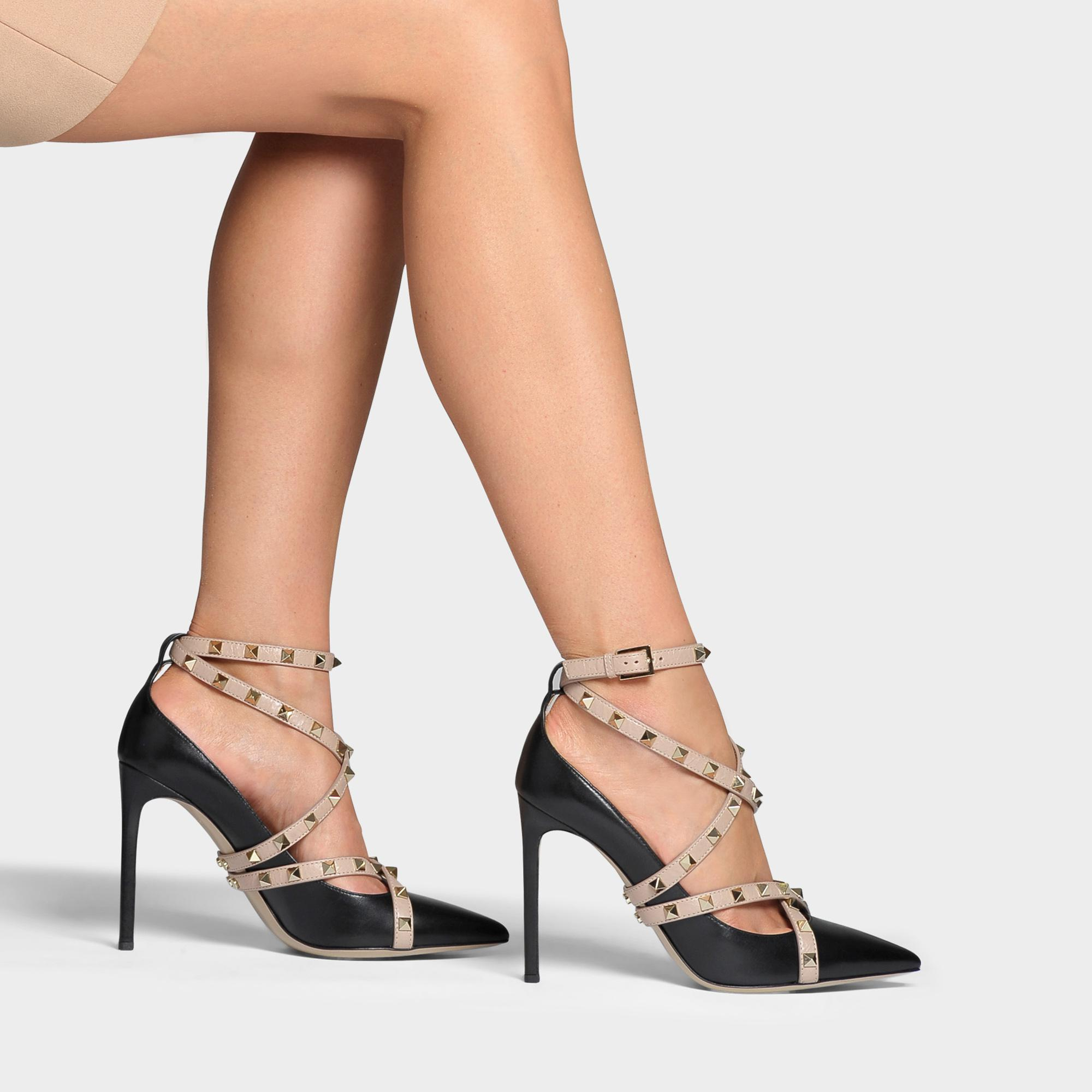 Rockstud Pointed Pumps with Ankle Strap in Black and Poudre Calfskin Valentino L2c3XHE