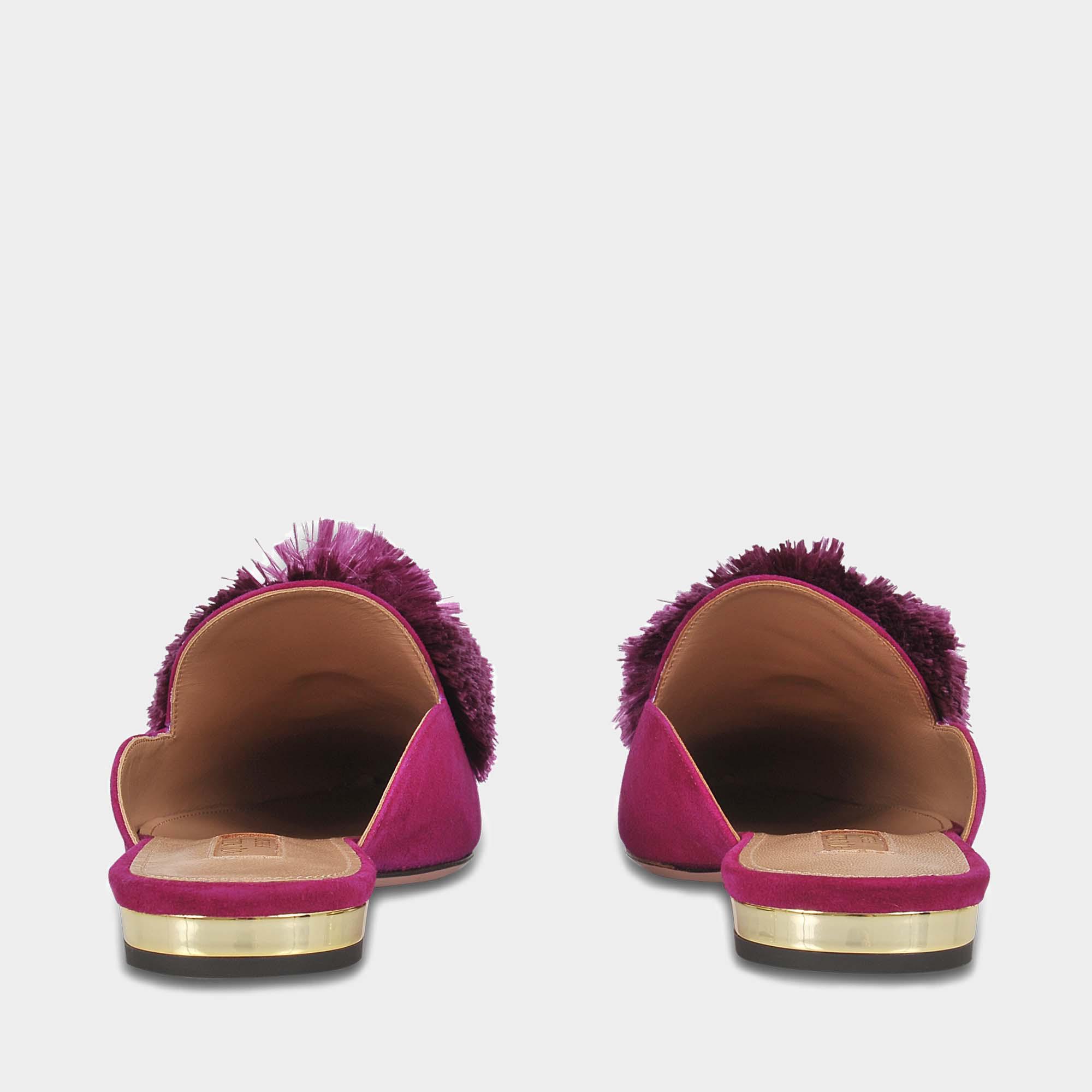 Powder Puff Flat Shoes in Iris Suede Aquazzura dvfJq