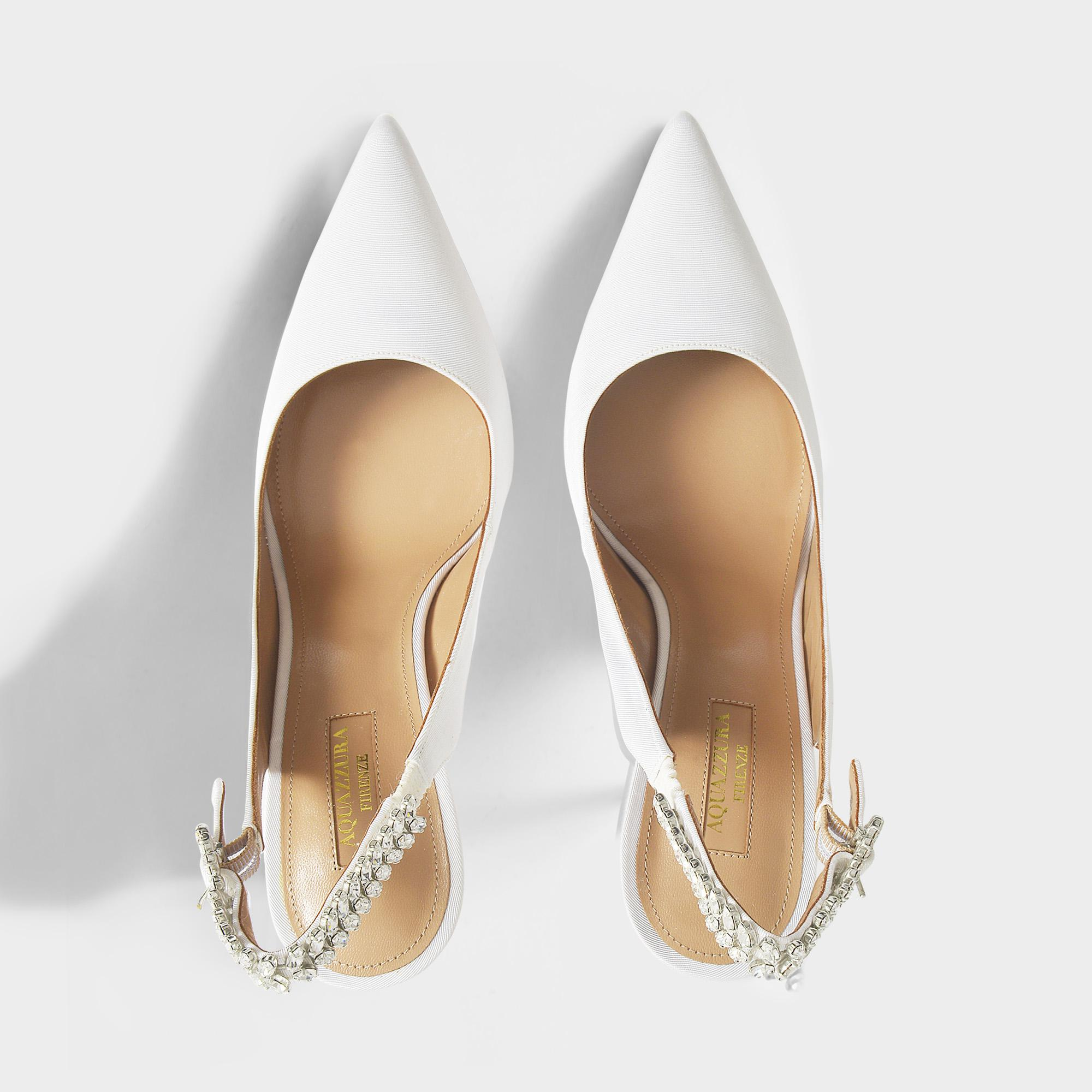 961e65fddca Lyst - Aquazzura Portrait Of Lady 105 Slingbacks In White Satin Silk ...