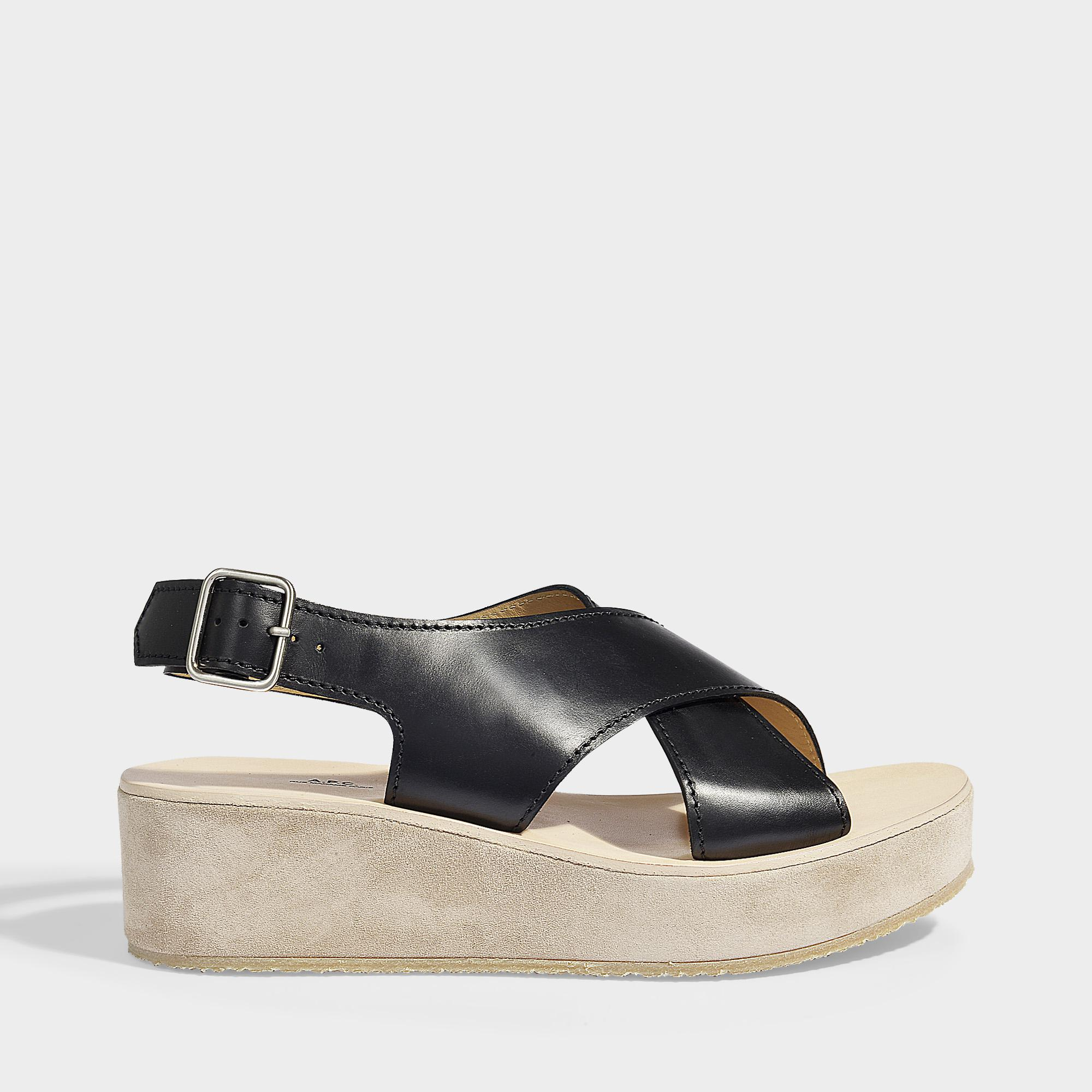 74e25913df5 A.P.C. Mae Sandals In Black Smooth Leather in Black - Lyst