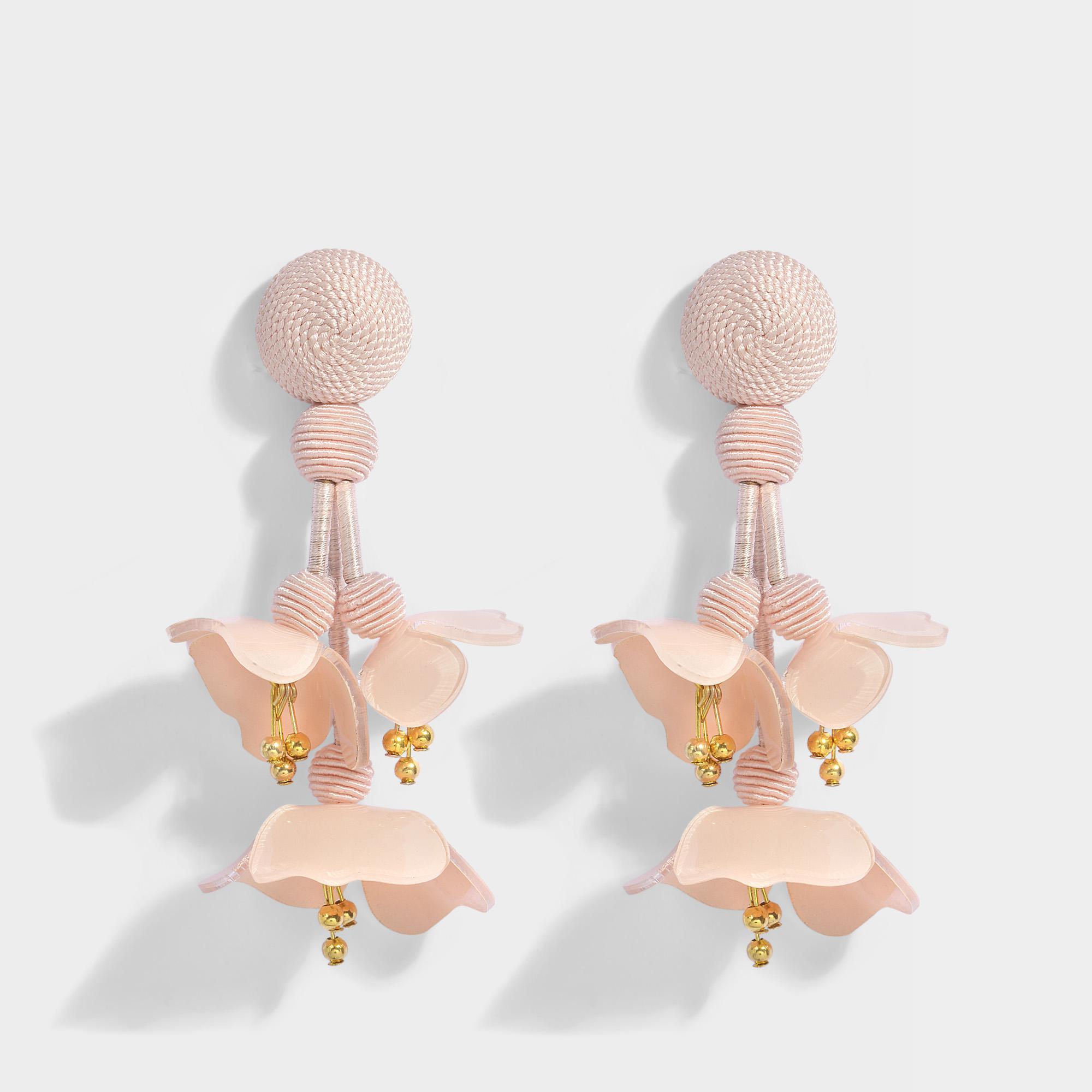 Falling Flower Clip Earrings in Blush Synthetic Oscar De La Renta juxS9Q