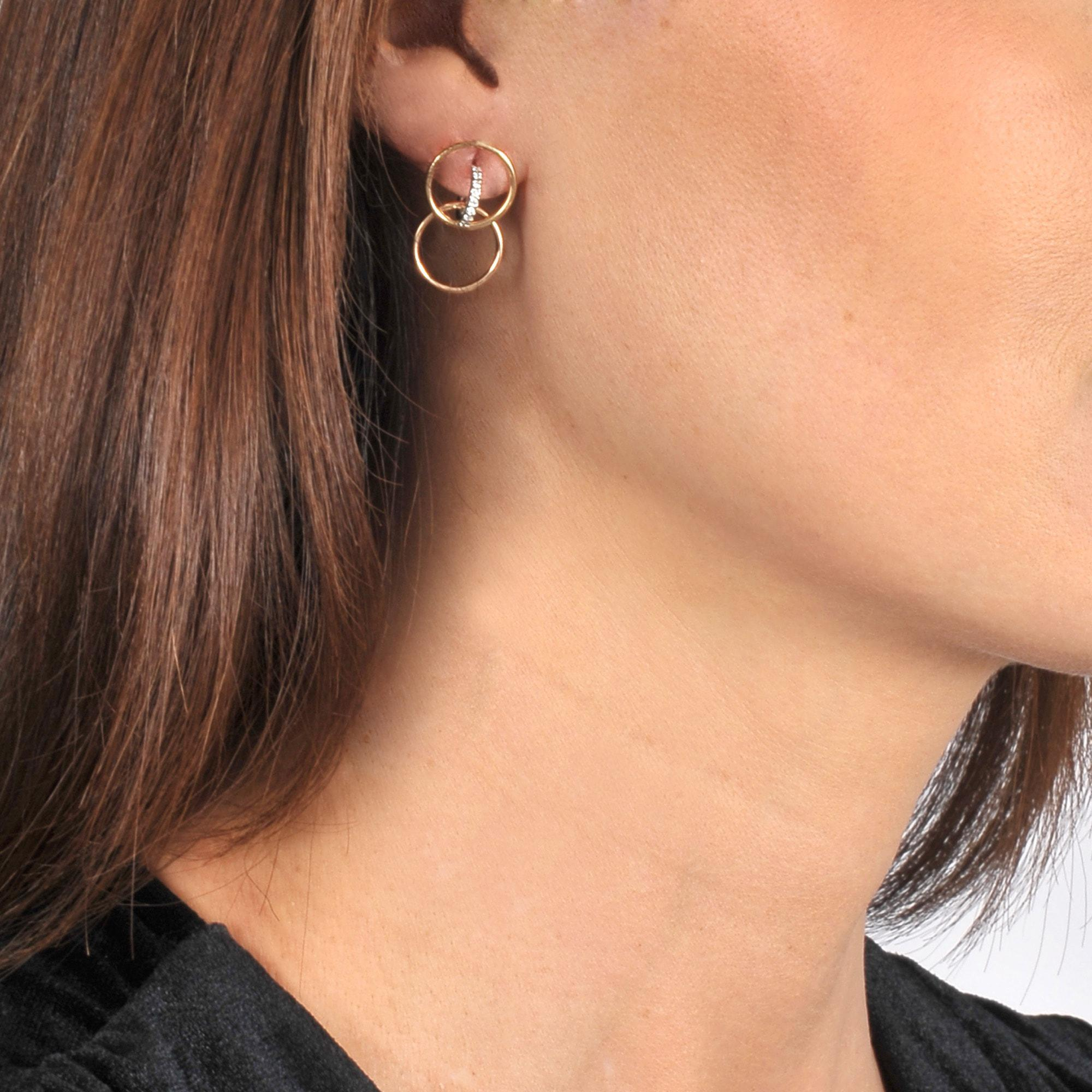 Galilea XS Earring in Yellow, Rose and White 18K Gold and Diamonds Charlotte Chesnais
