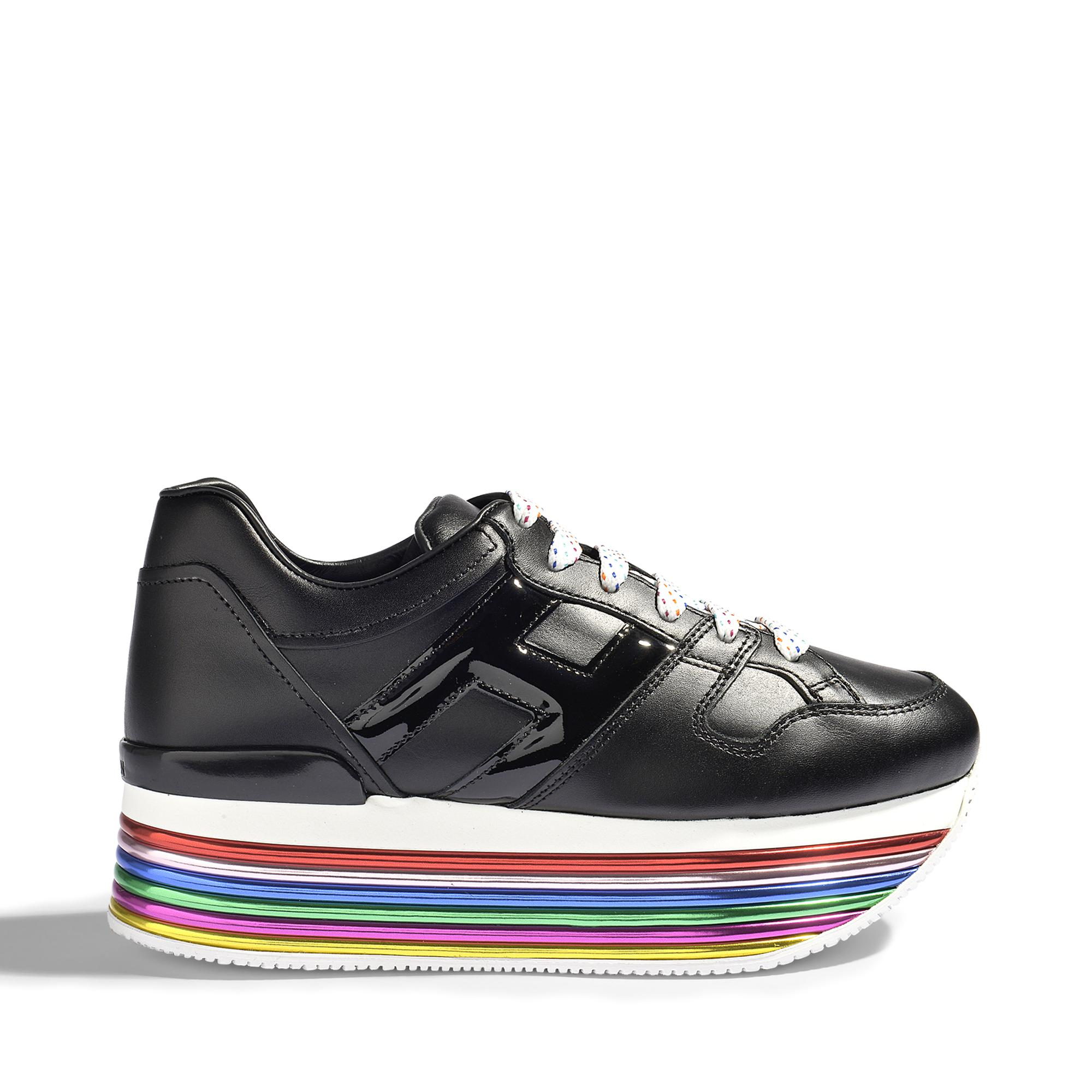 H352 Maxi Platform Mignon Sneakers in Black and Multicolour Leather Hogan qOJdH9sRyg
