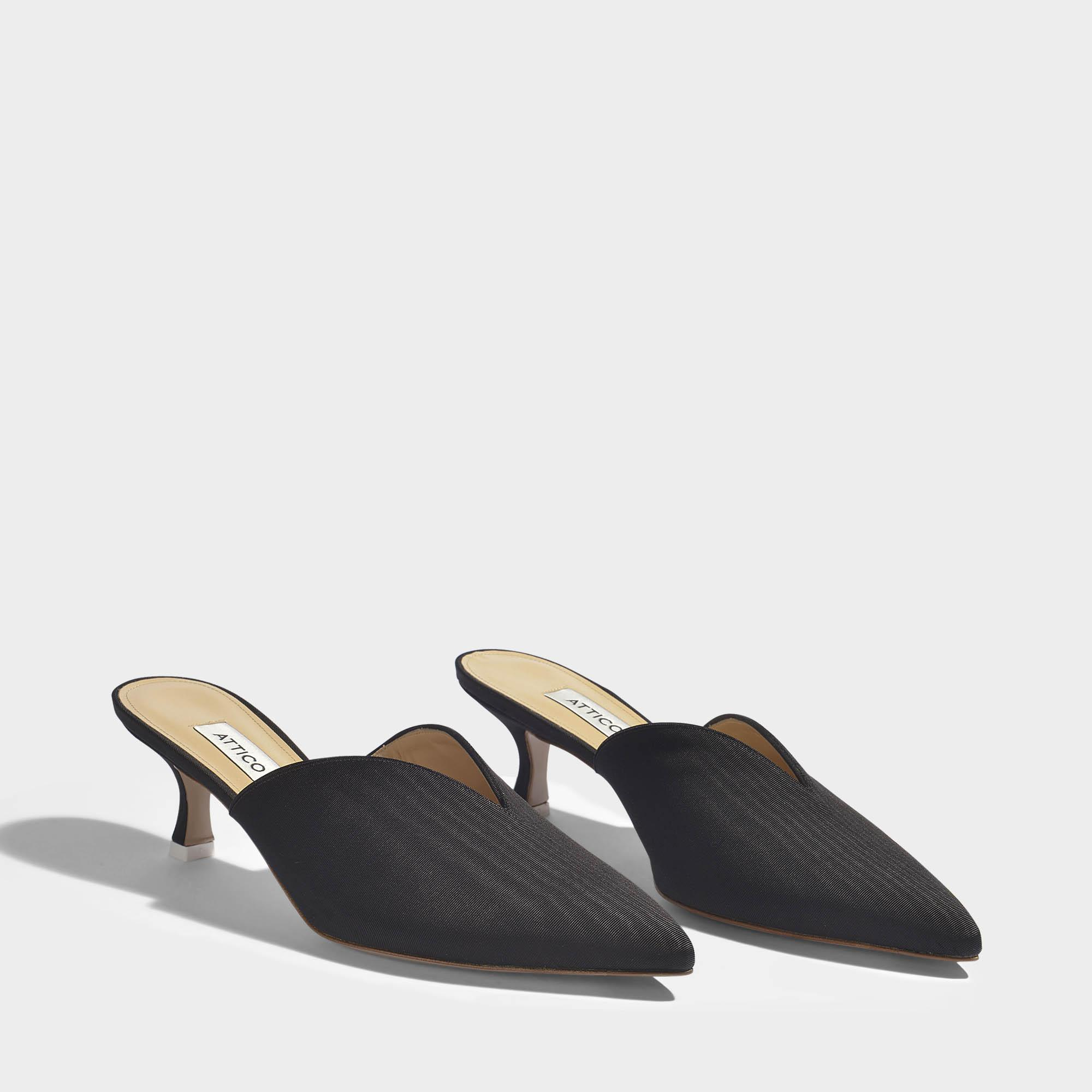 Cara Mid Height Mule Shoes in Black Silk Leather Attico liM4pDRkaf