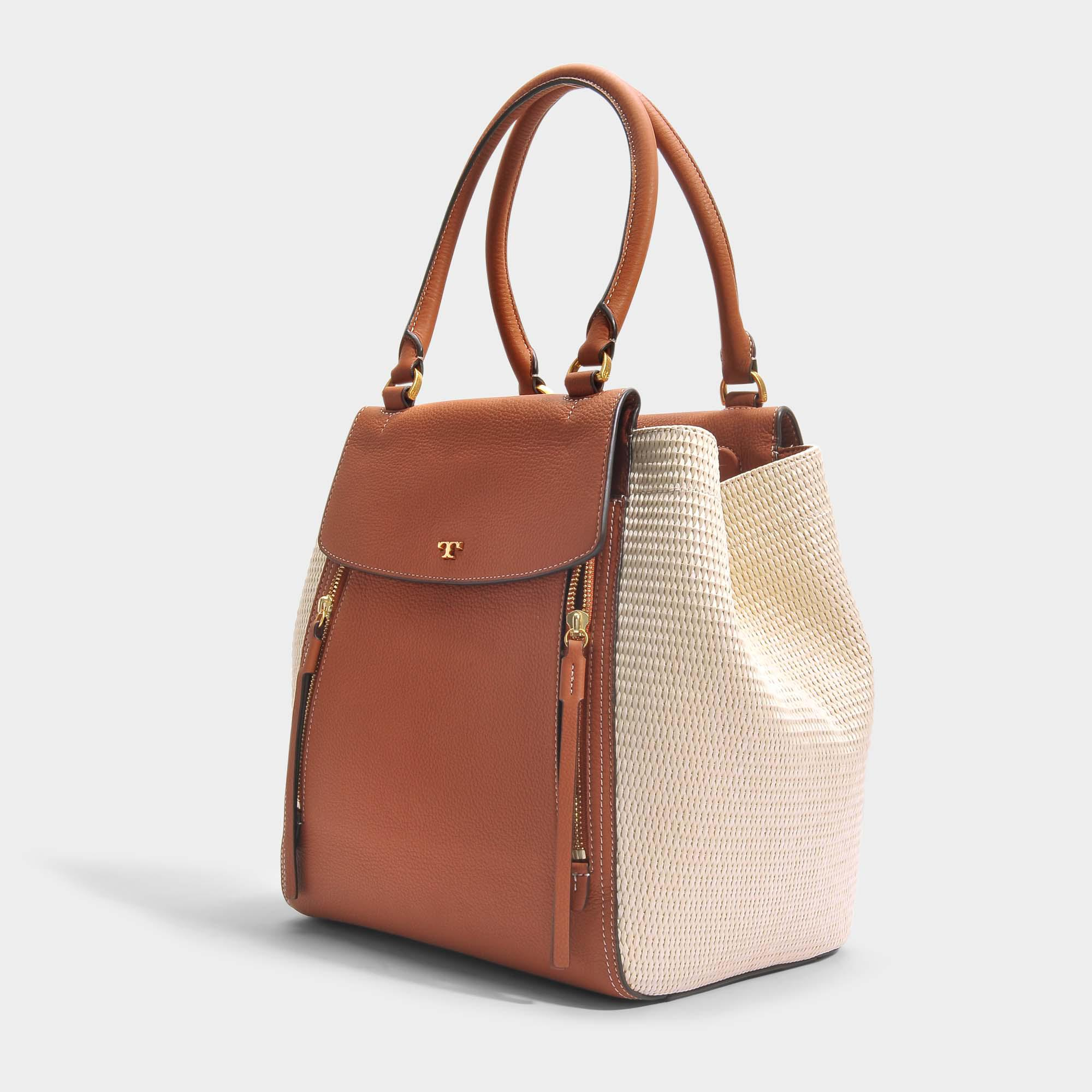 6c5a7ef9070f Lyst - Tory Burch Half-moon Straw Tote Bag In Natural And Classic ...