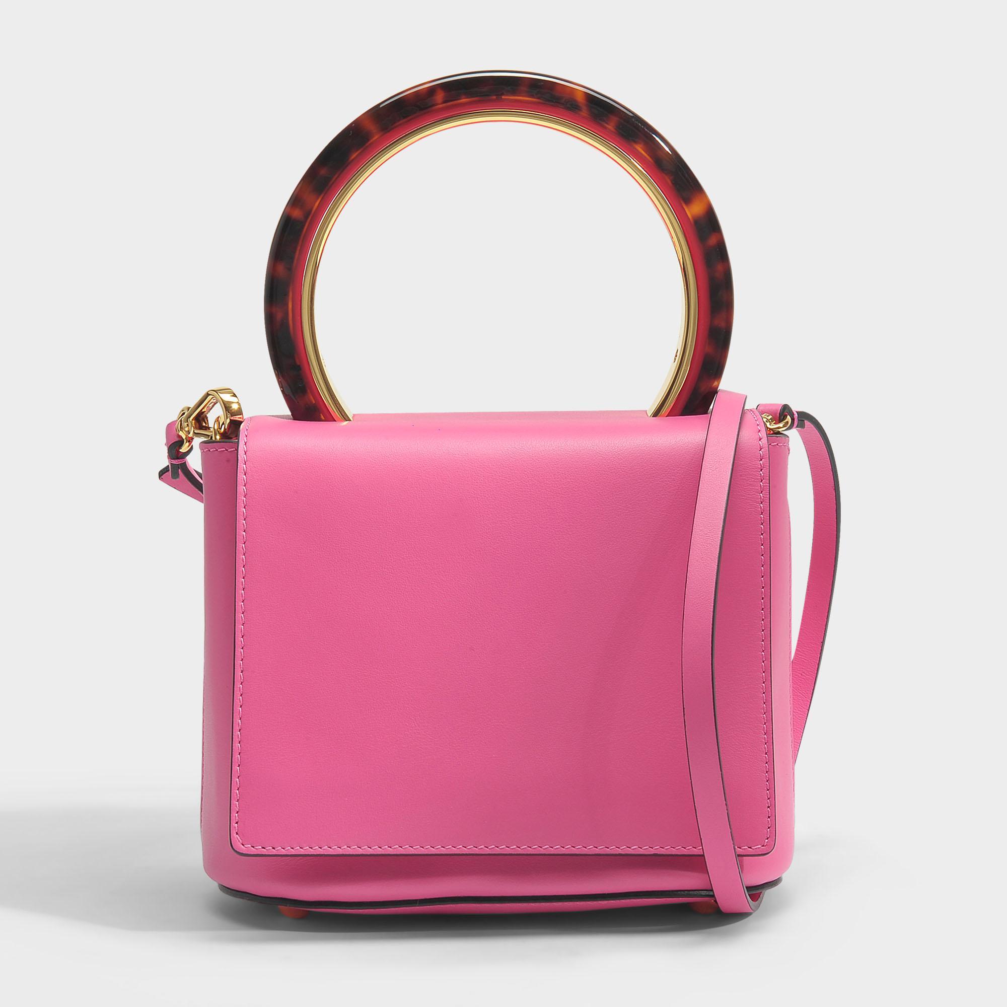 Marni Round Circle Flap Bag in Fuchsia Fluo Calf Leather tSZC4
