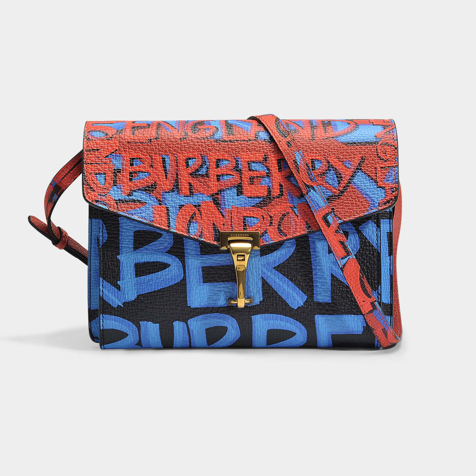 b0375393ce3a Lyst - Burberry Small Macken Graffiti Bag In Black Leather Graffiti ...