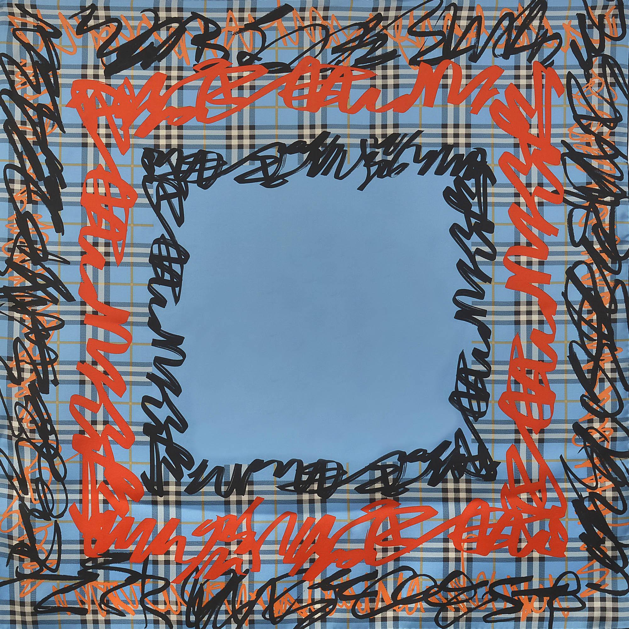 Lyst - Foulard carré scribble border vintage check 90x90 en soie ... cd84059e785