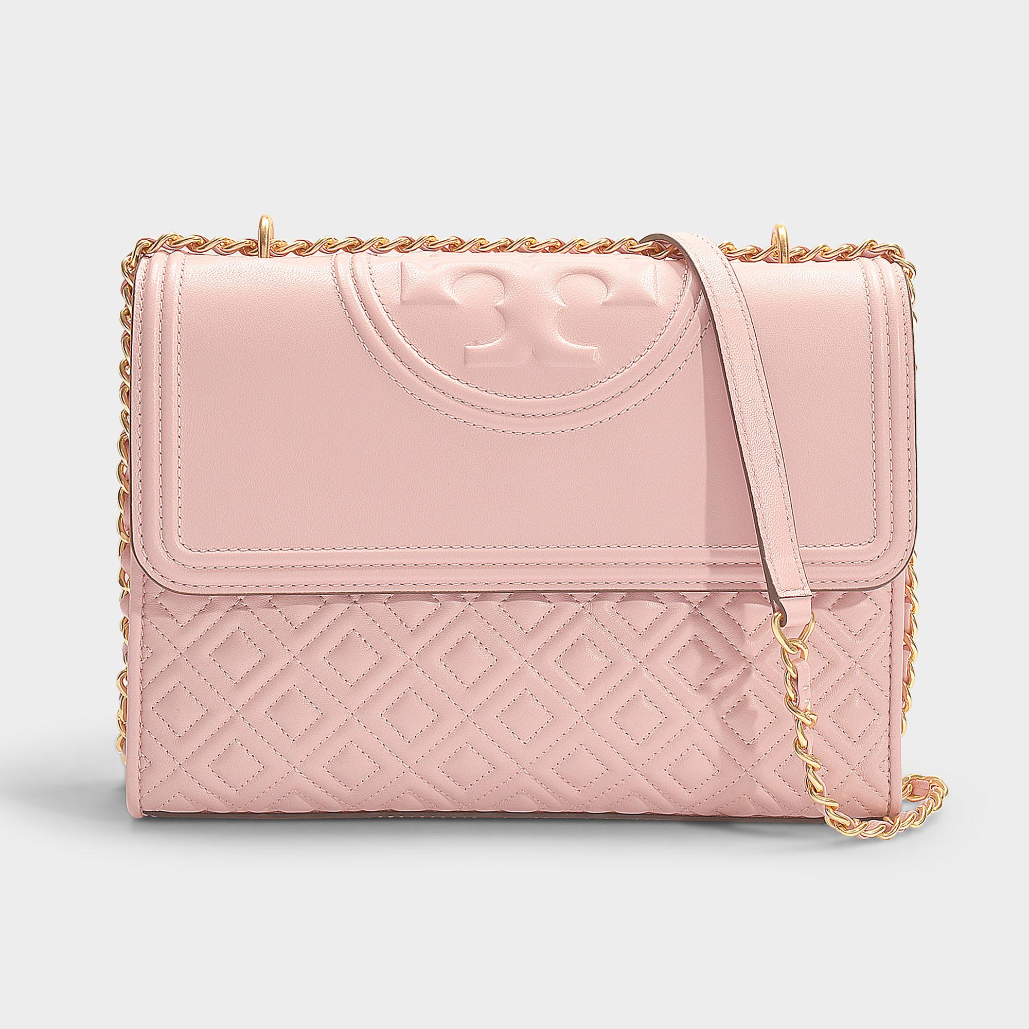 457094ab727f Tory Burch Fleming Convertible Shoulder Bag In Shell Pink Calfskin ...