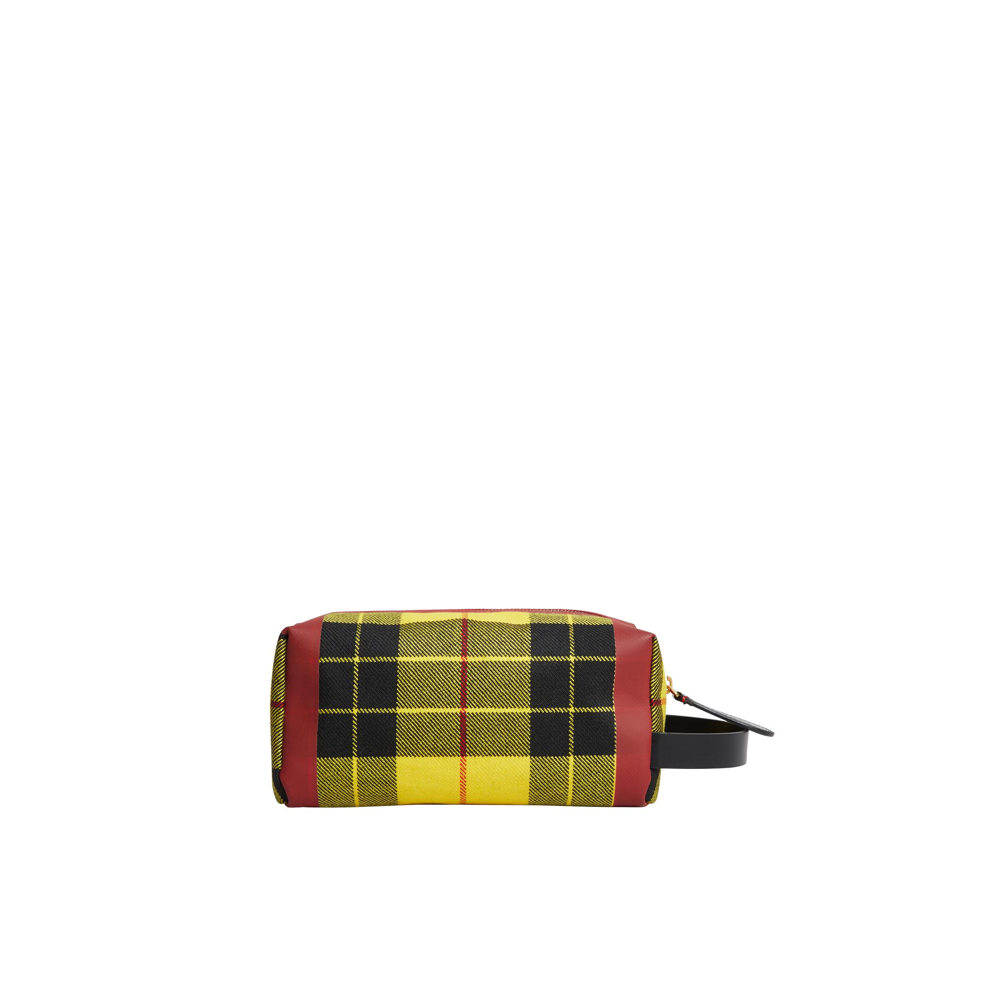 Burberry Pochette Zippée en Coton Jaune et Caramel jGlXd