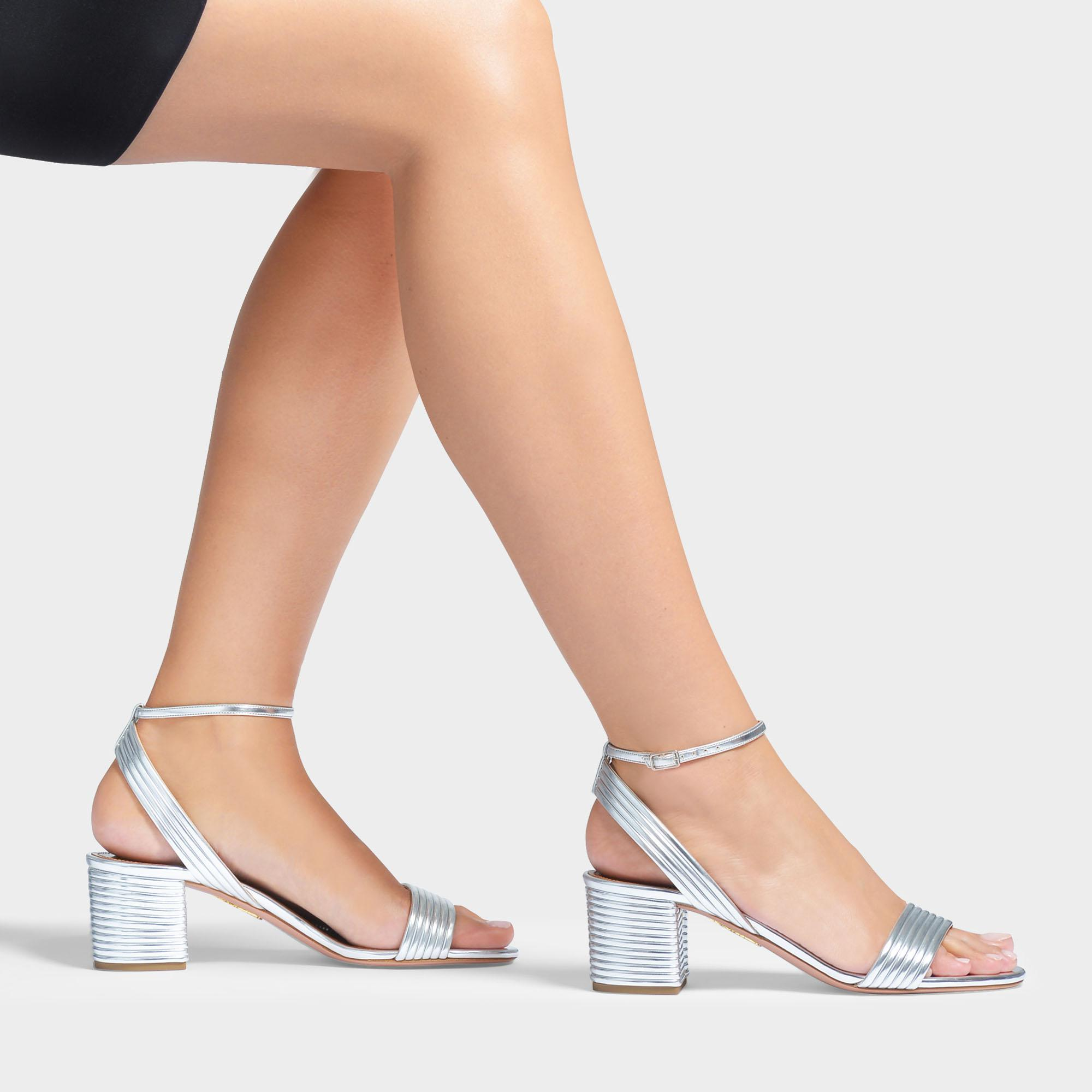 89ac59707a5 Lyst - Aquazzura Sundance Sandals 50 In Silver Laminated Leather in Gray