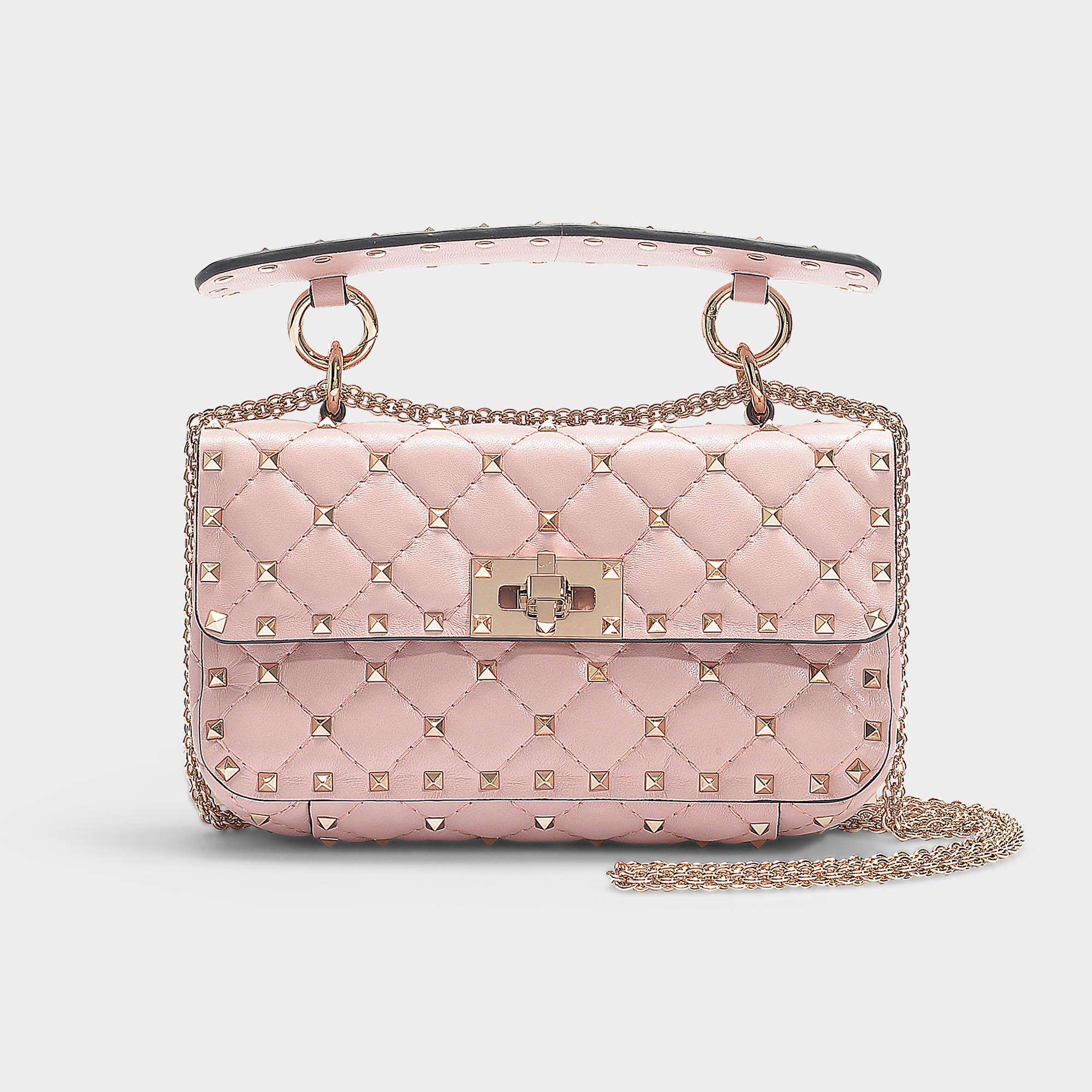 6f5dc64dee Lyst - Valentino Rockstud Spike Small Shoulder Bag In Water Rose ...