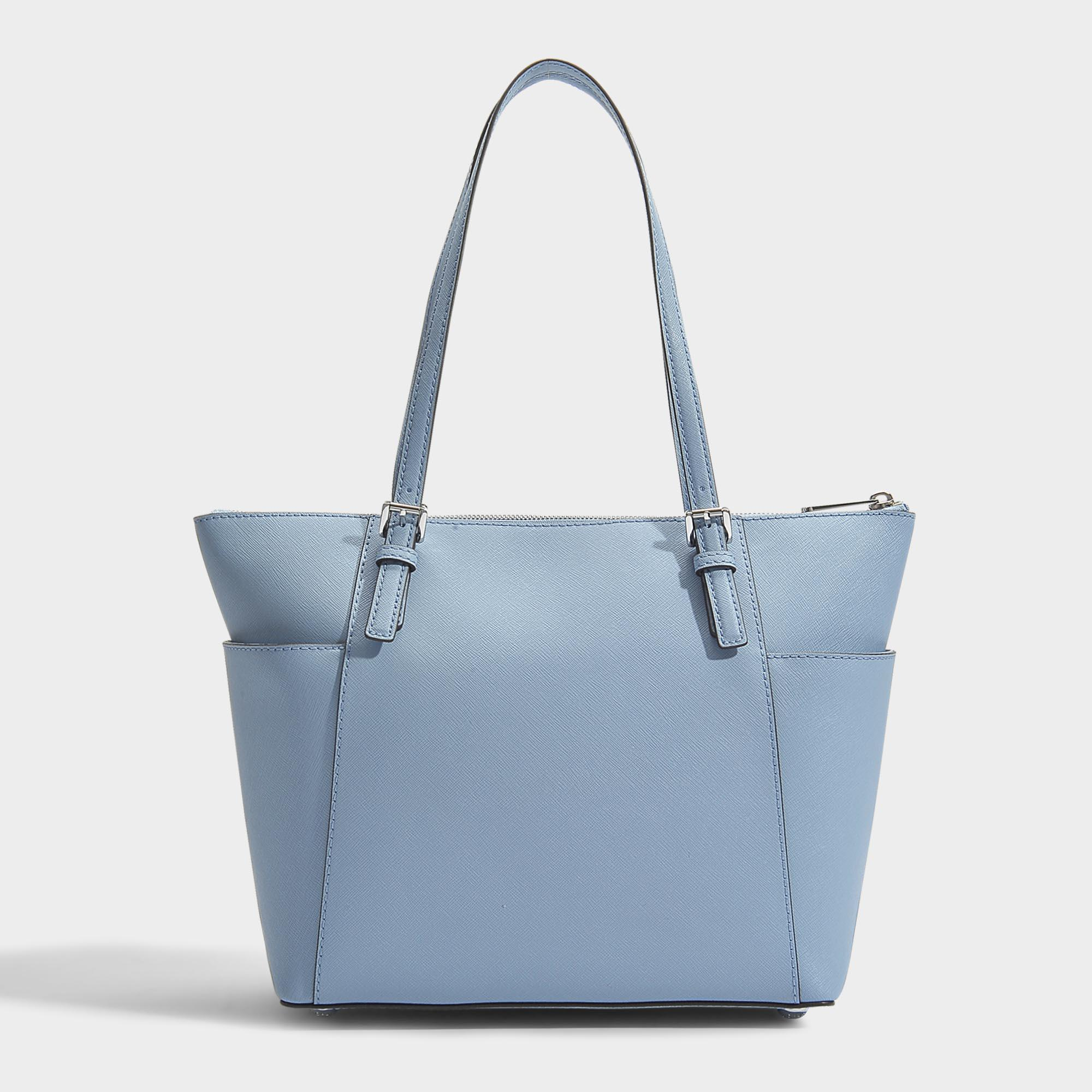 Jet Set Item East-West Top Zip Tote Bag in Tile Blue Saffia Leather Michael Michael Kors PE5sT8