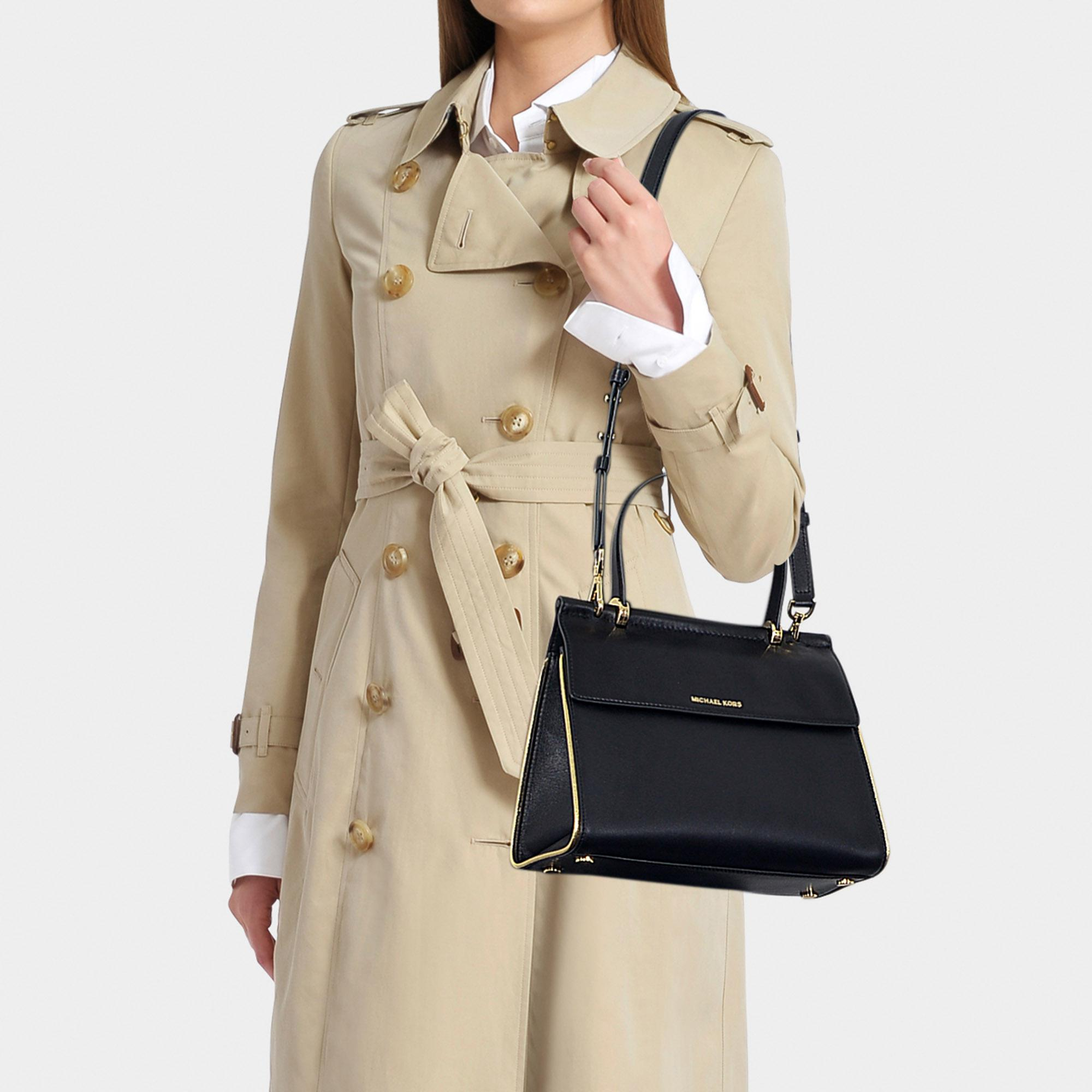MICHAEL Michael Kors - Jasmine Medium Top Handle Satchel Bag In Black And  Gold Calfskin -. View fullscreen 0eb9e22c5e36c