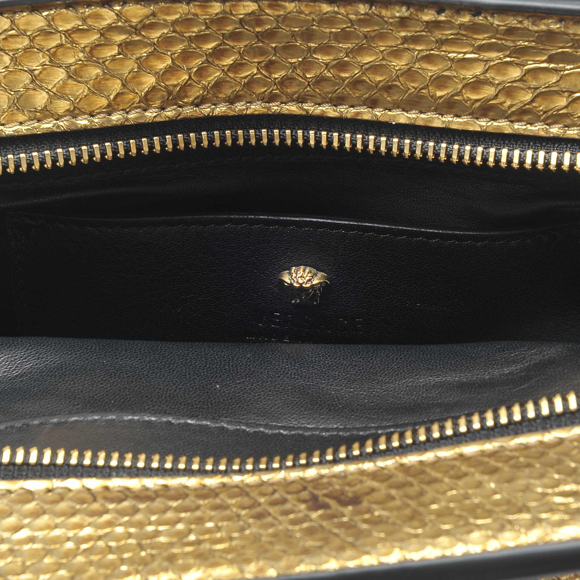 5f5aaad4f2be Lyst - Versace Palazzo Empire Mini Bag In Gold Watersnake