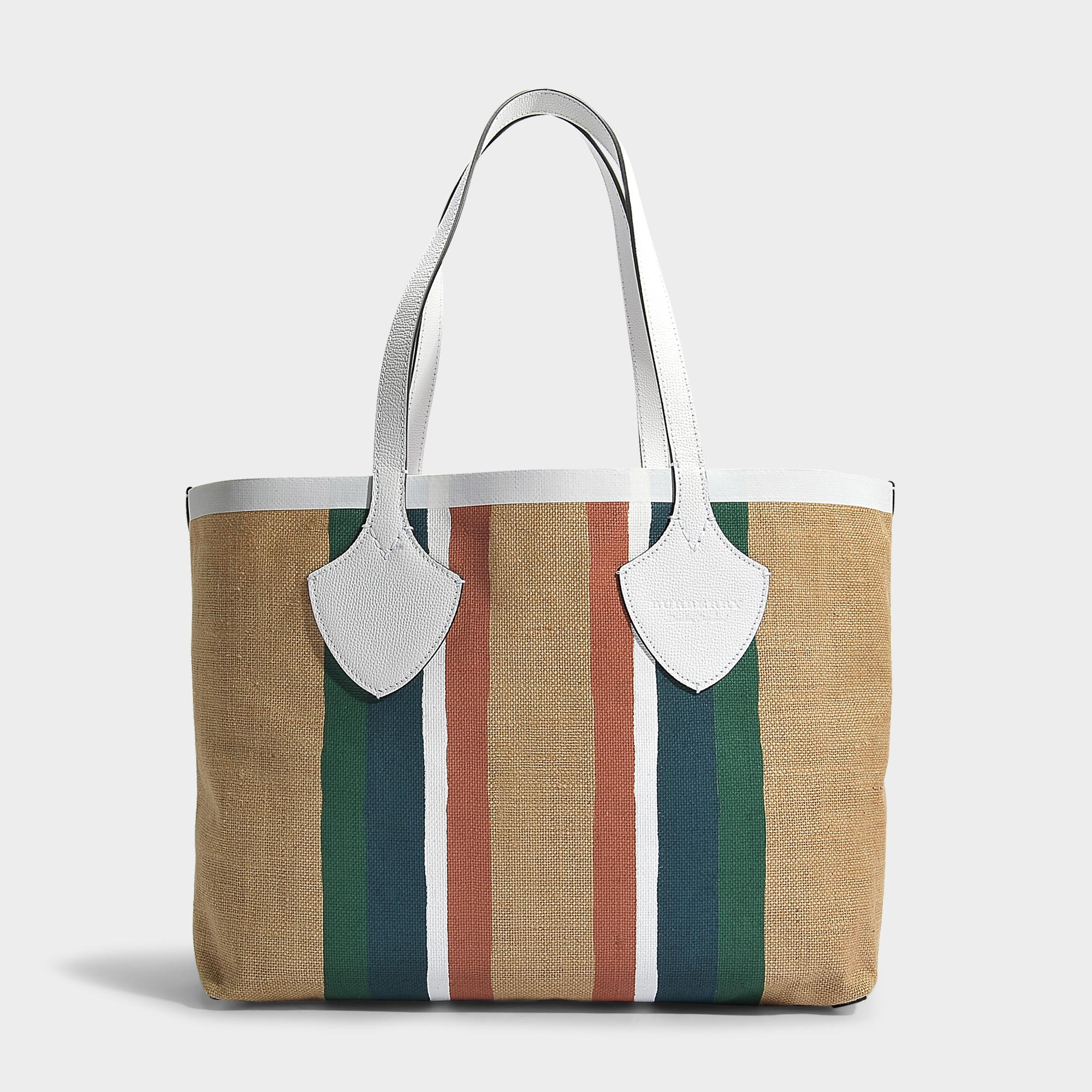 The Giant Large Tote Bag in Chalk White Printed Jute Burberry ip5QXiFE