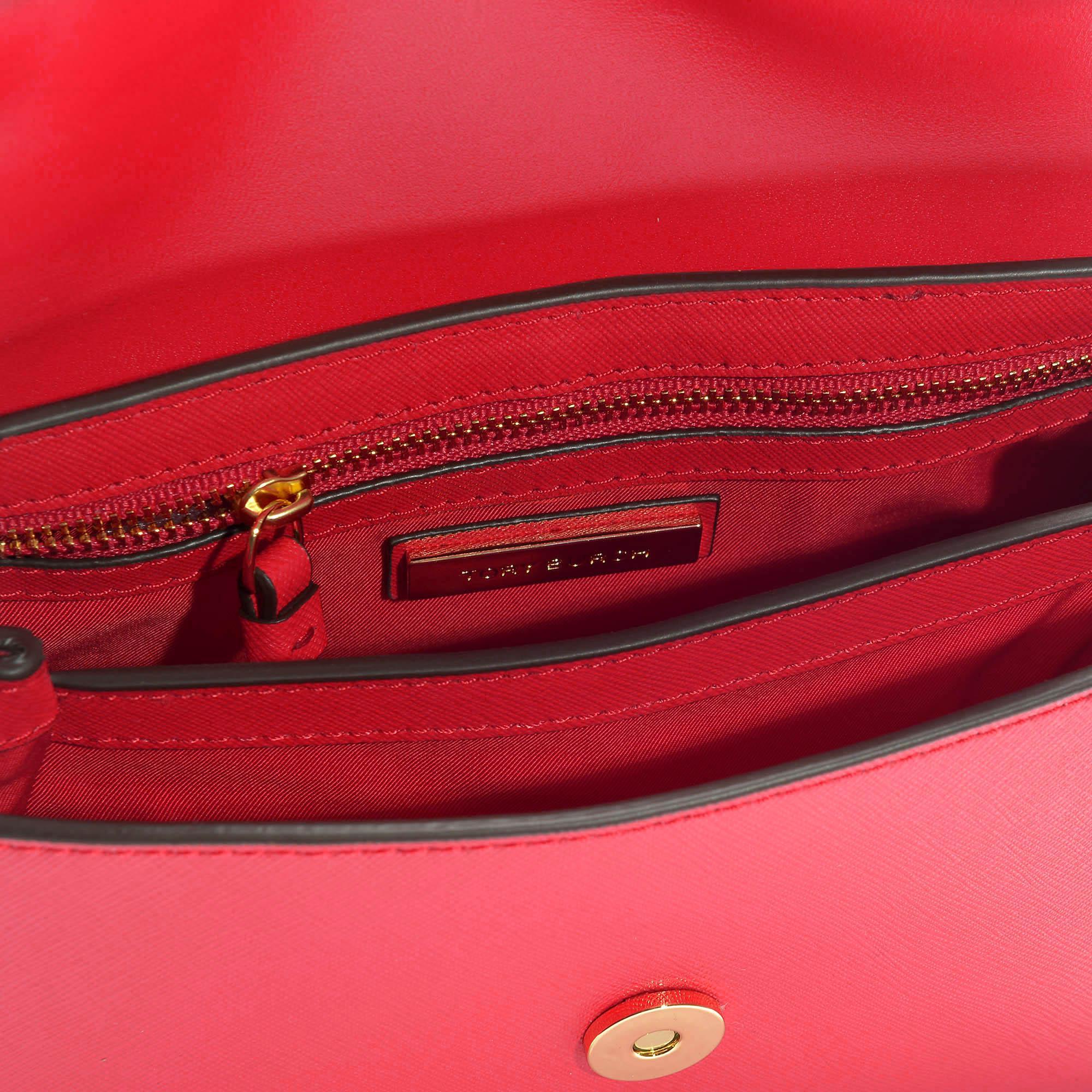 d981feff4a06 Tory Burch - Robinson Small Top-handle Satchel In Brilliant Red Calfskin -  Lyst. View fullscreen