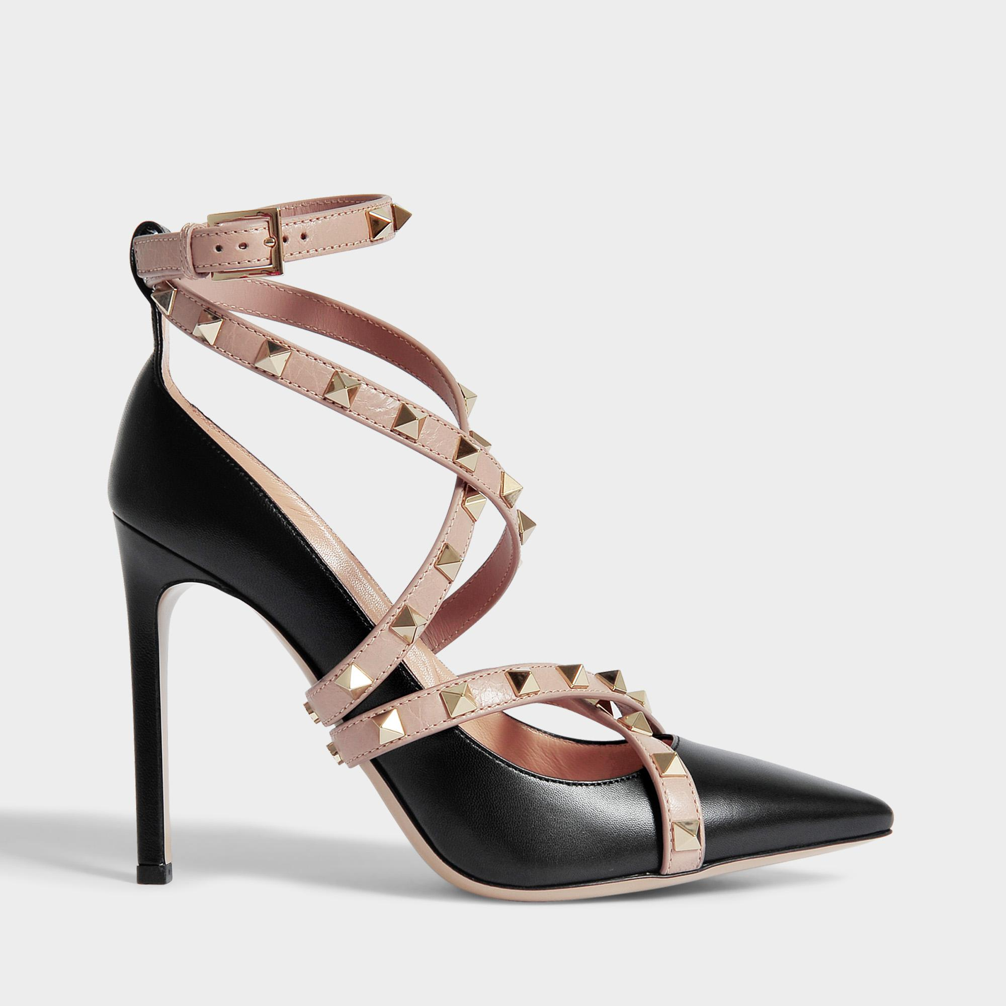 Rockstud Pointed Pumps with Ankle Strap in Black and Poudre Calfskin Valentino ulZJsIiIGz